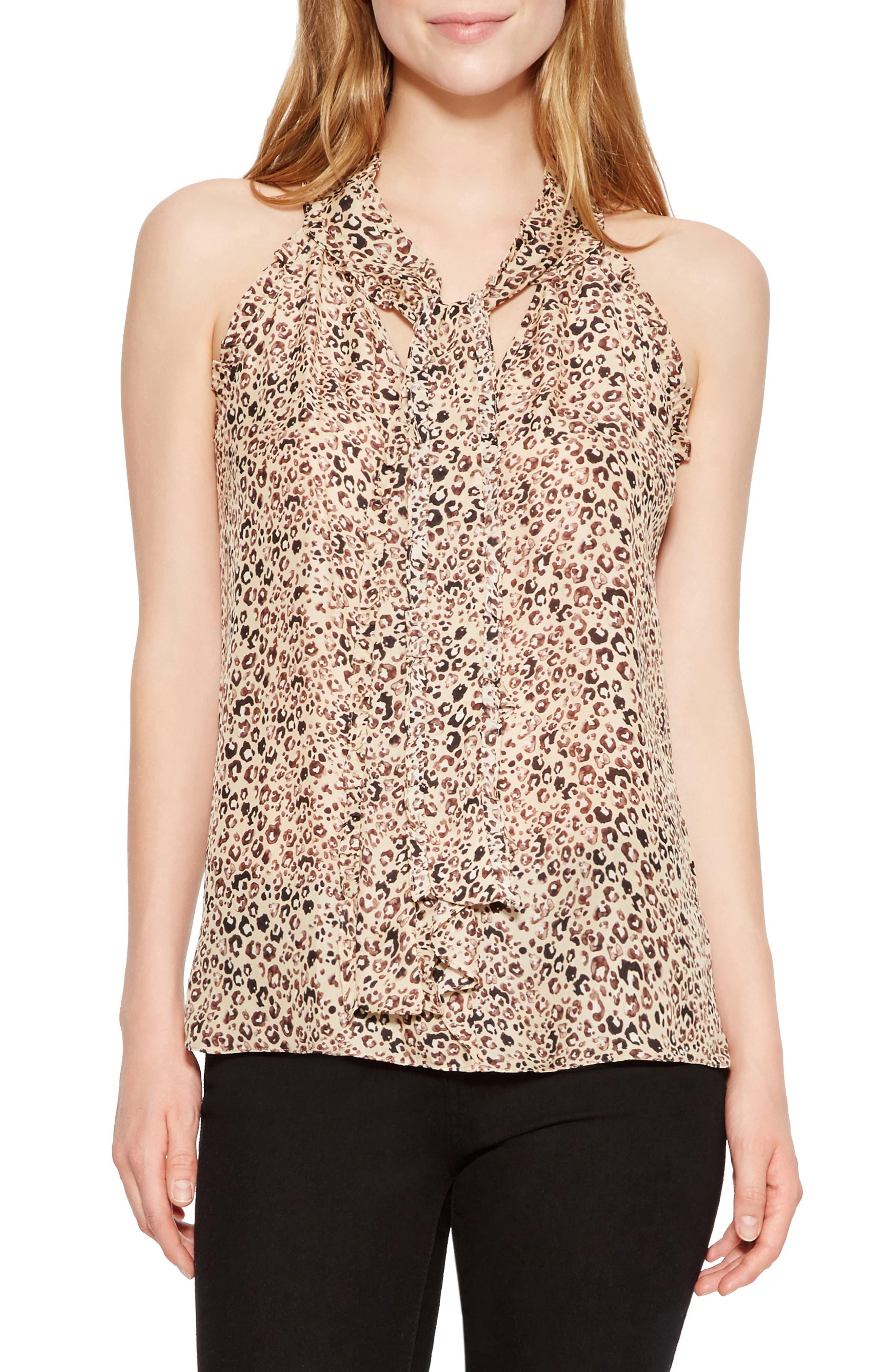 Allie Sleeveless Silk Blend Blouse,                         Main,                         color, BLACK ALEXIA