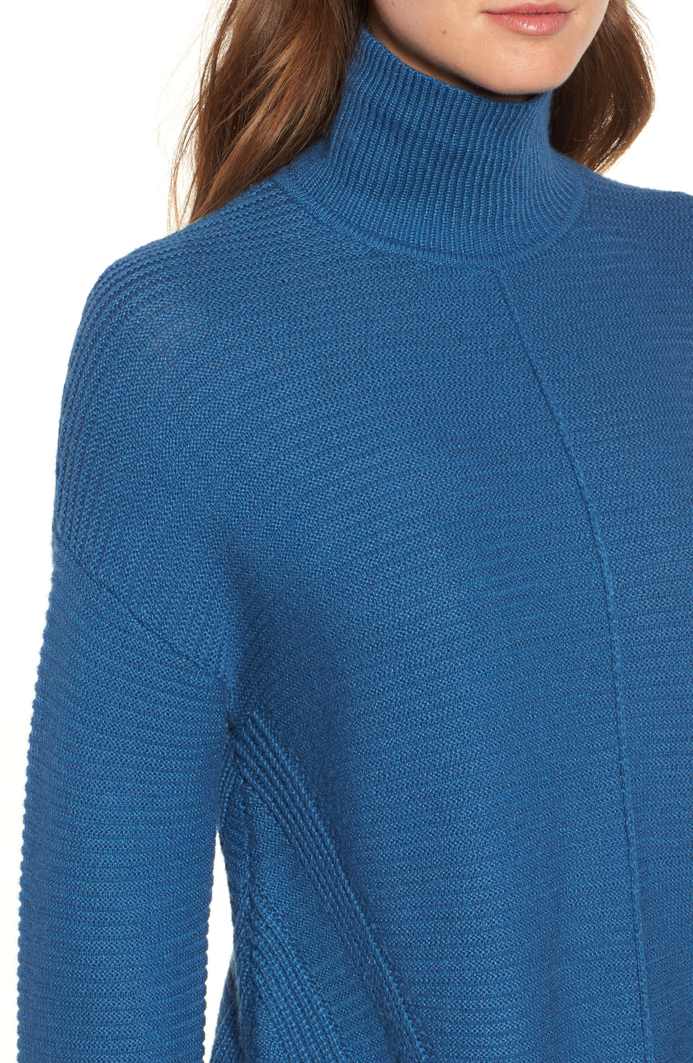 Ribbed Turtleneck Tunic Sweater,                             Alternate thumbnail 4, color,                             BLUE DARK