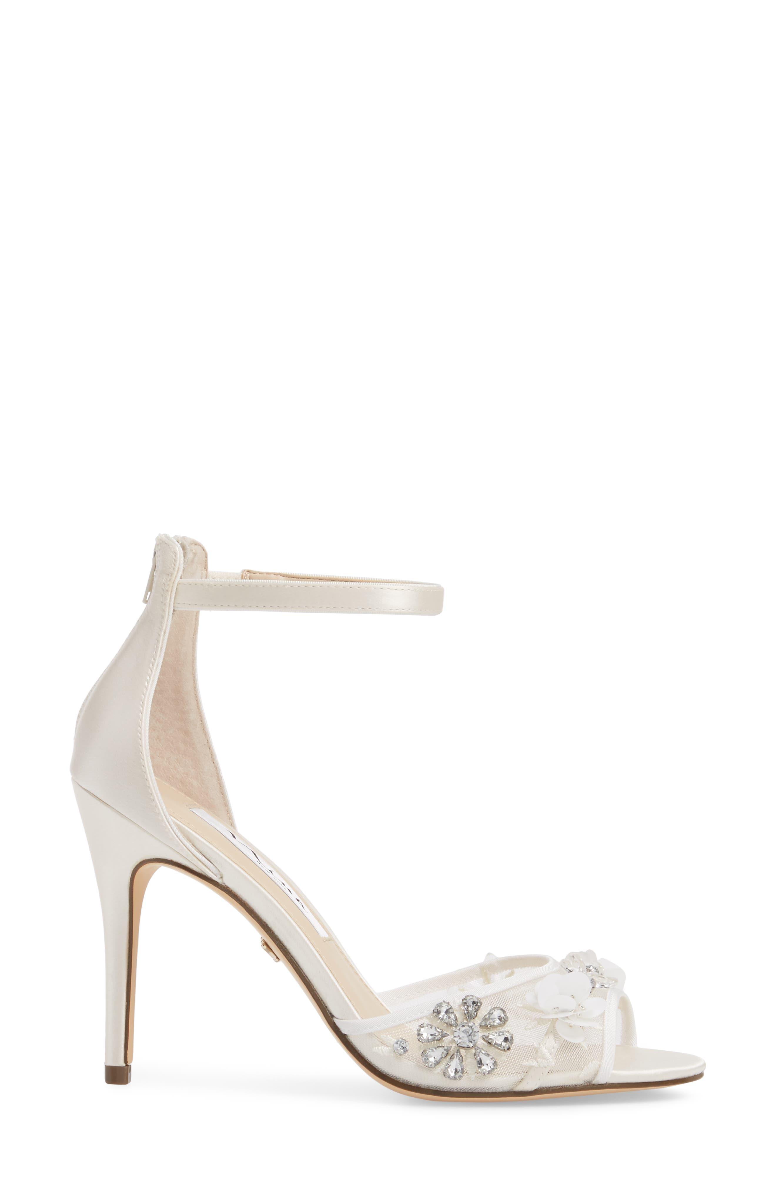 Clarity Ankle Strap Sandal,                             Alternate thumbnail 3, color,                             IVORY SATIN