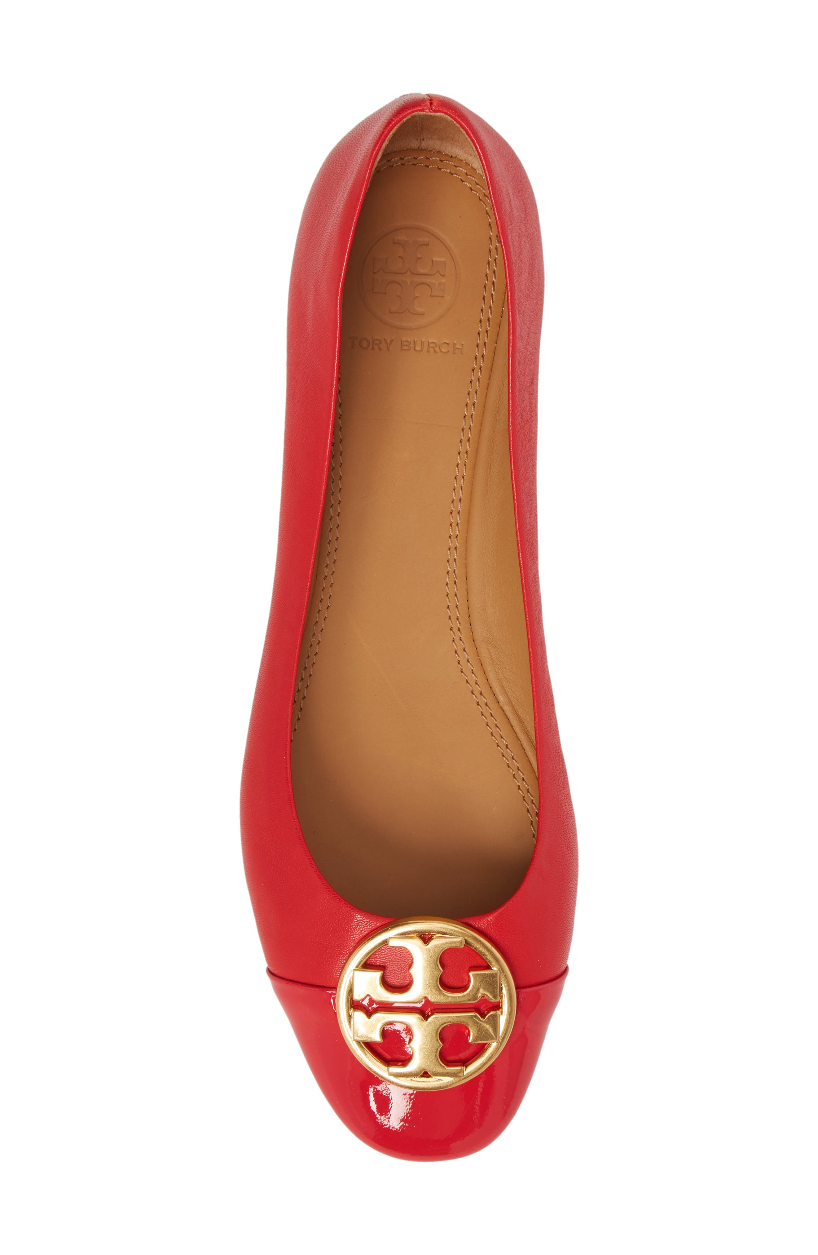 Chelsea Cap Toe Ballet Flat,                             Alternate thumbnail 5, color,                             BRILLIANT RED