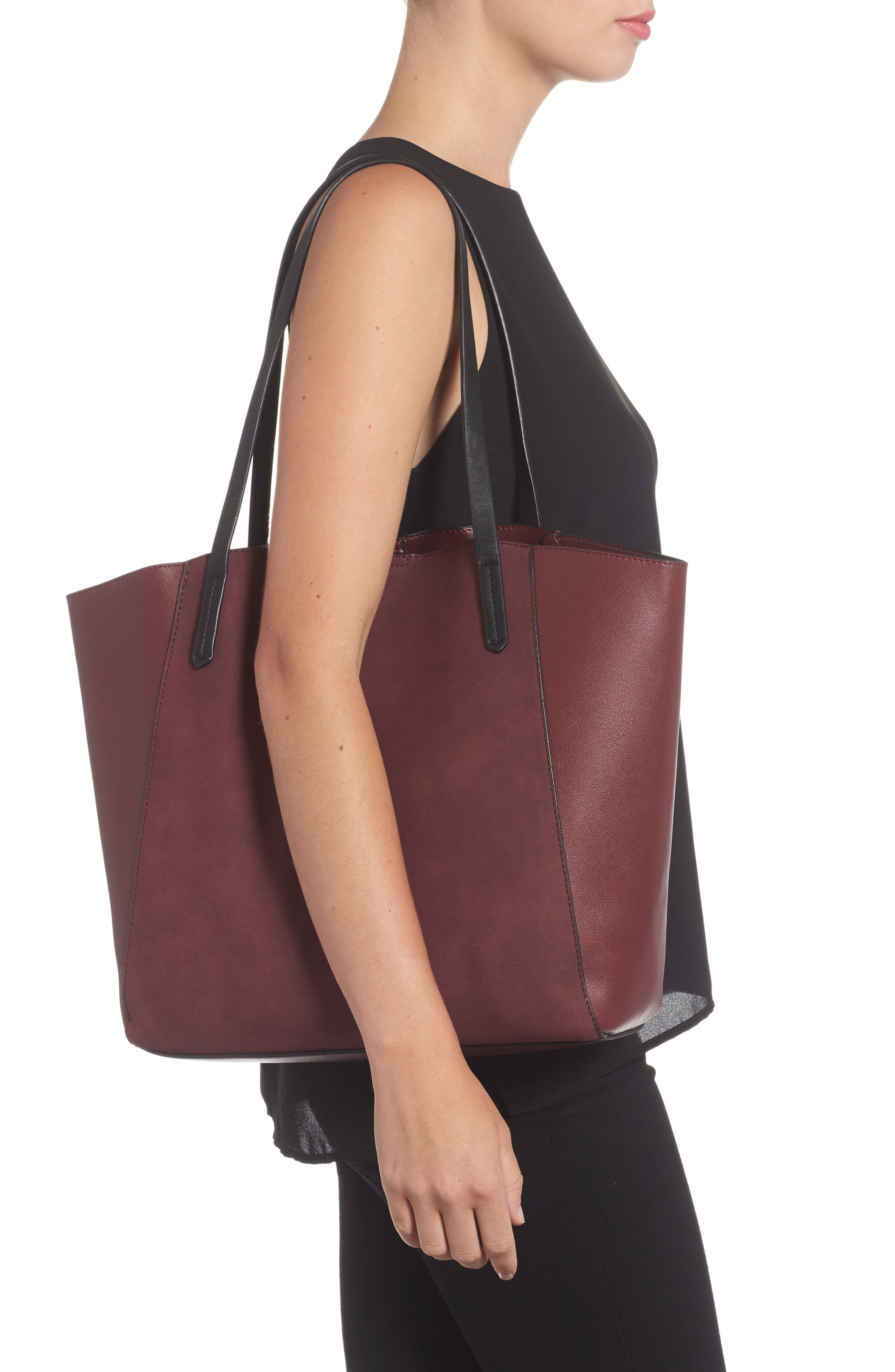 Colorblock Faux Leather Tote,                             Alternate thumbnail 14, color,