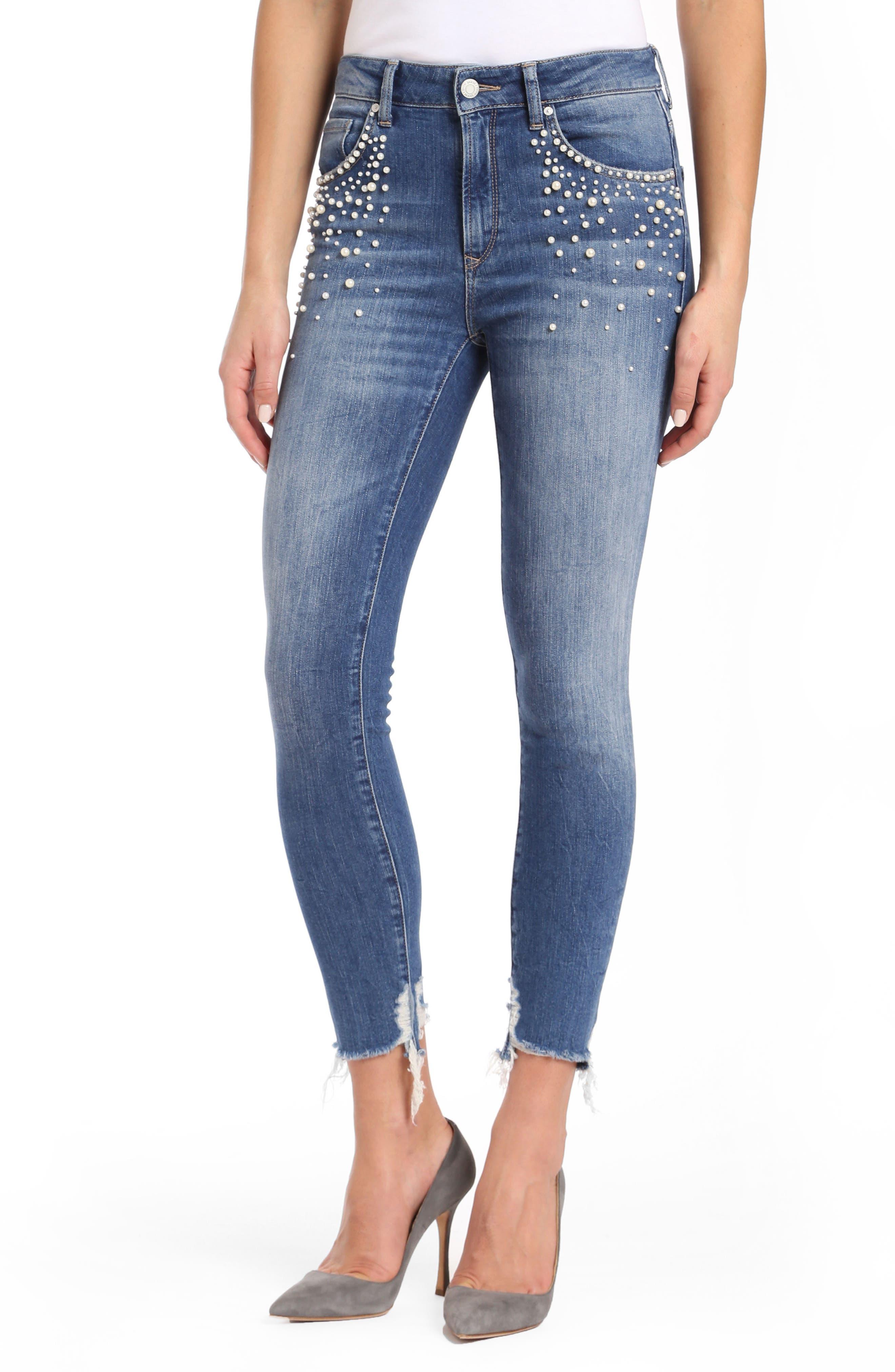 Tess Faux Pearl Skinny Jeans,                             Main thumbnail 1, color,