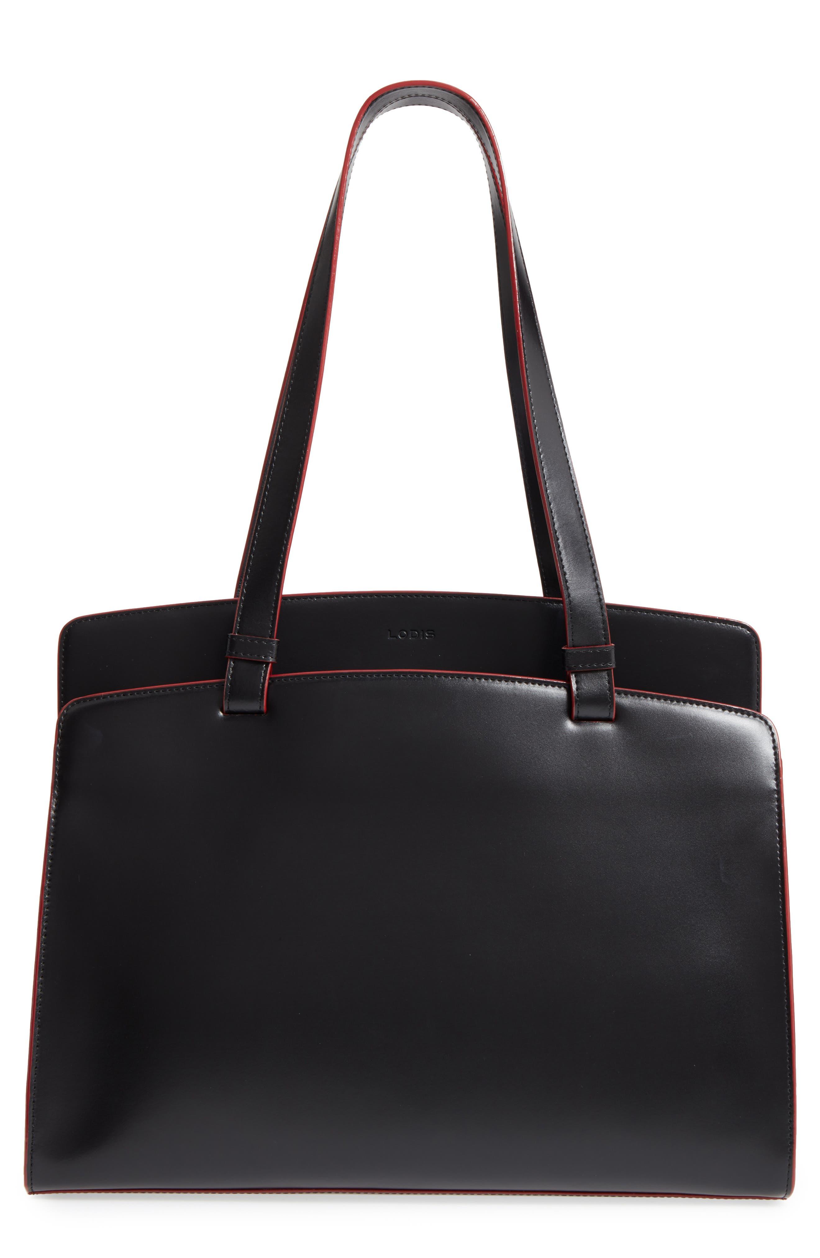 Audrey Under Lock & Key - Jana RFID Leather Tote,                         Main,                         color, BLACK