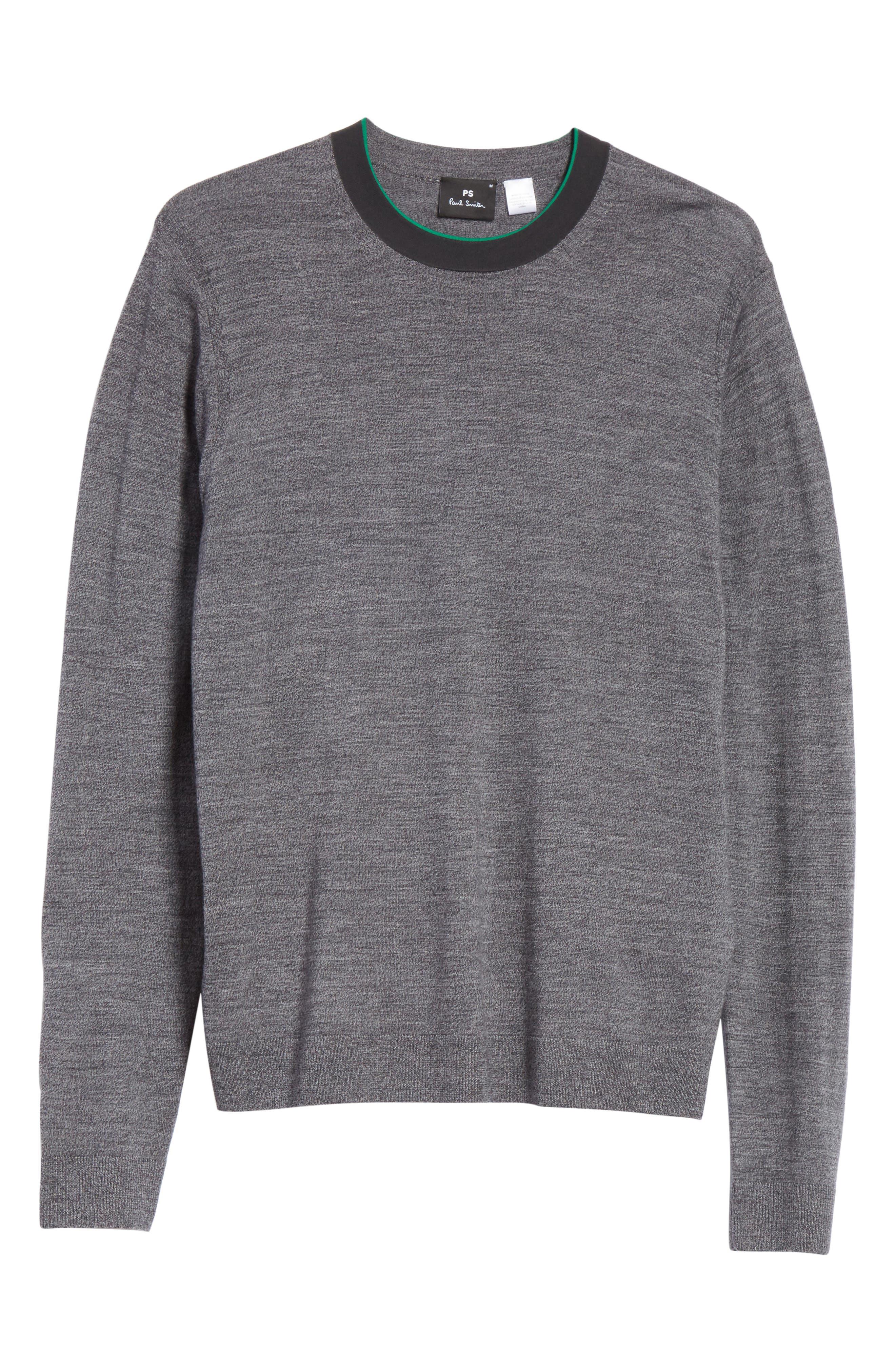 Crewneck Merino Wool Blend Sweater,                             Alternate thumbnail 6, color,                             021