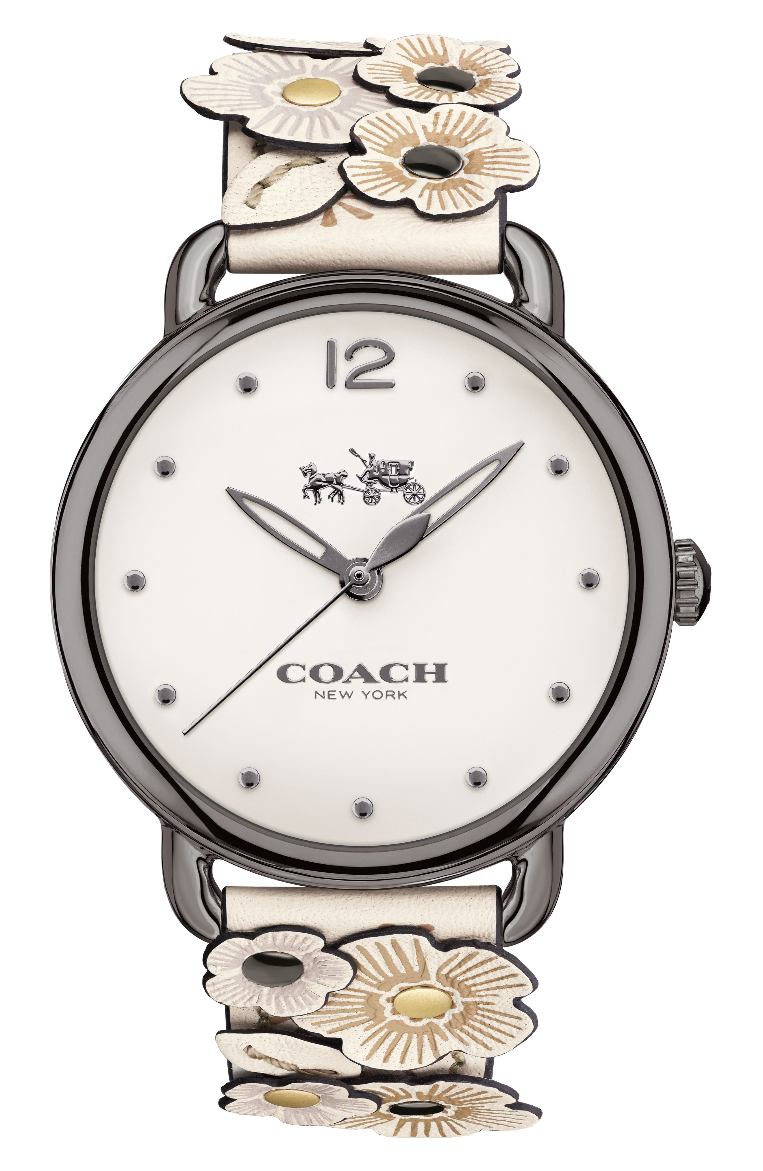 Delancey Leather Strap Watch, 36mm,                         Main,                         color, GREY/ CHALK