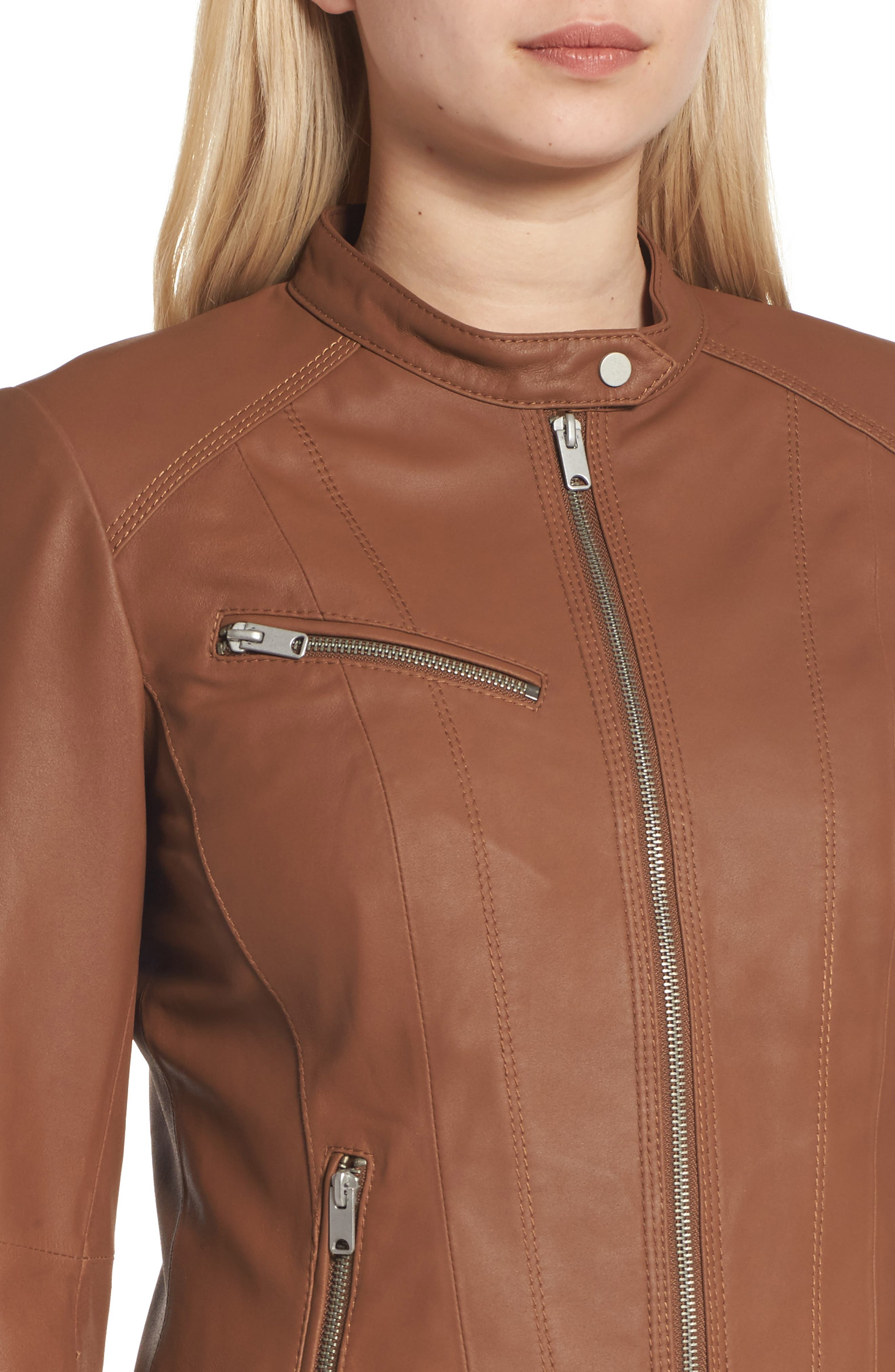 Andrew Marc Felicity Leather Moto Jacket,                             Alternate thumbnail 8, color,
