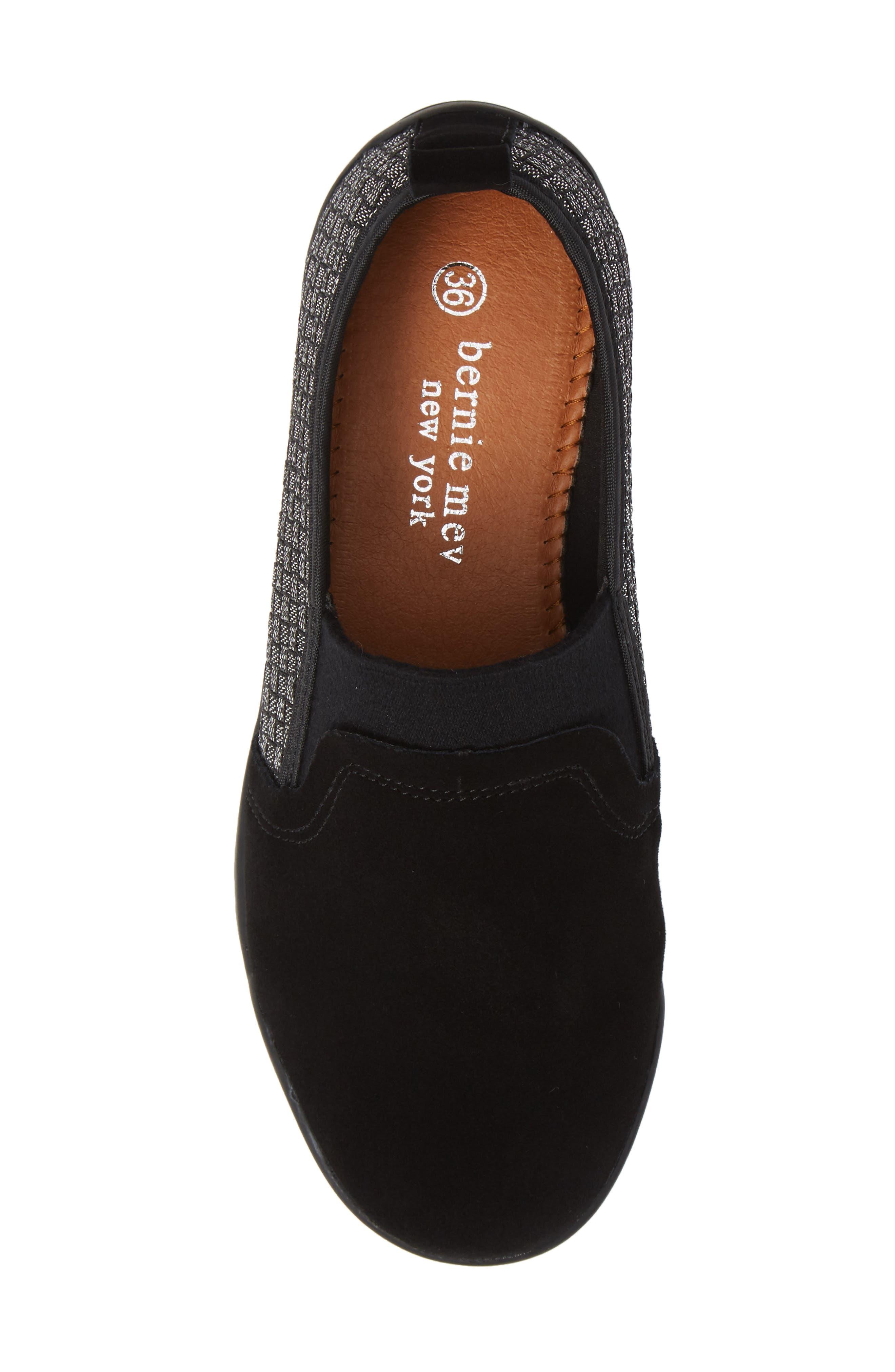 Swift Slip-On Sneaker,                             Alternate thumbnail 5, color,                             BLACK SHIMMER LEATHER