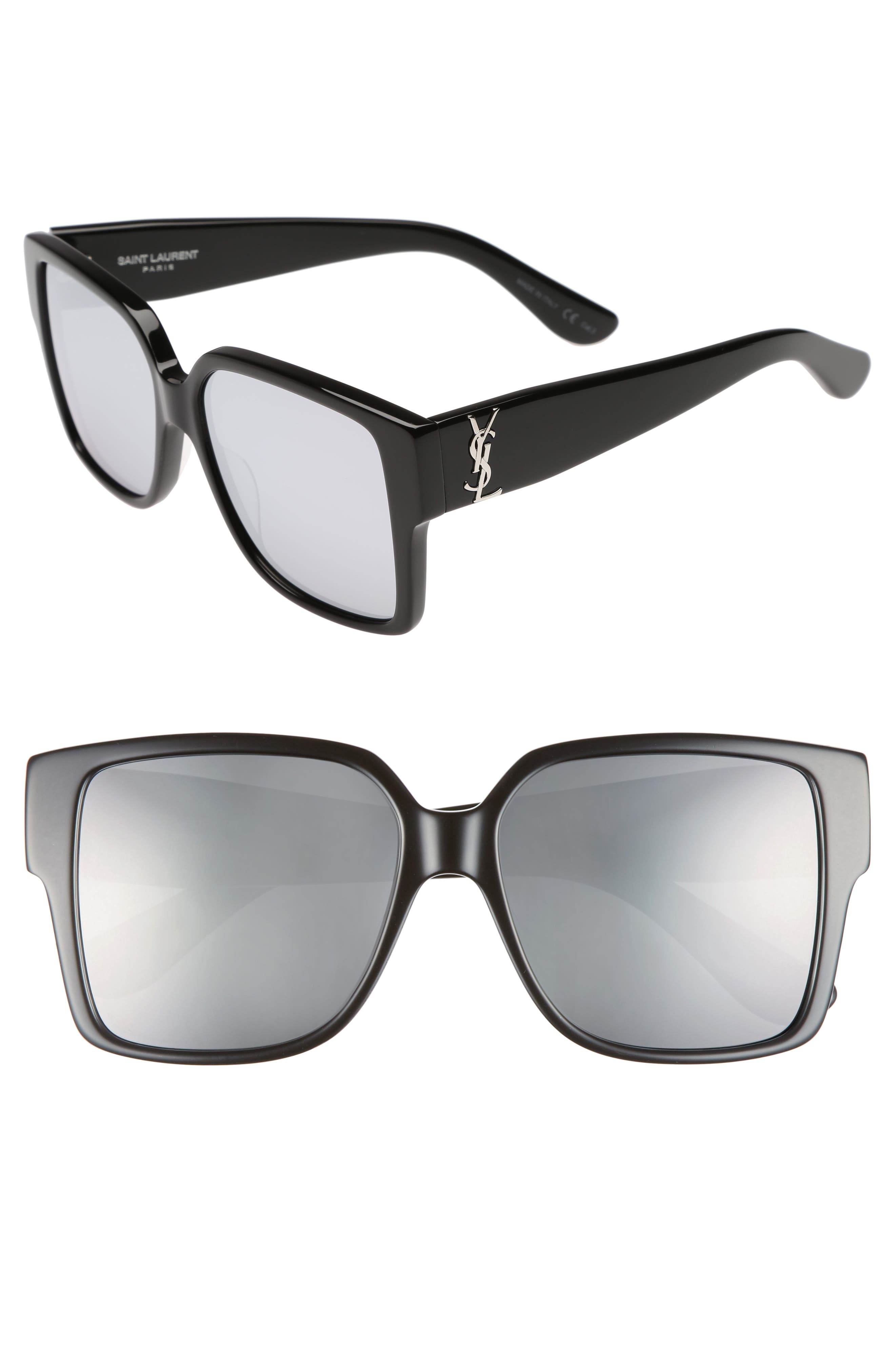 55mm Square Sunglasses,                             Main thumbnail 1, color,                             001