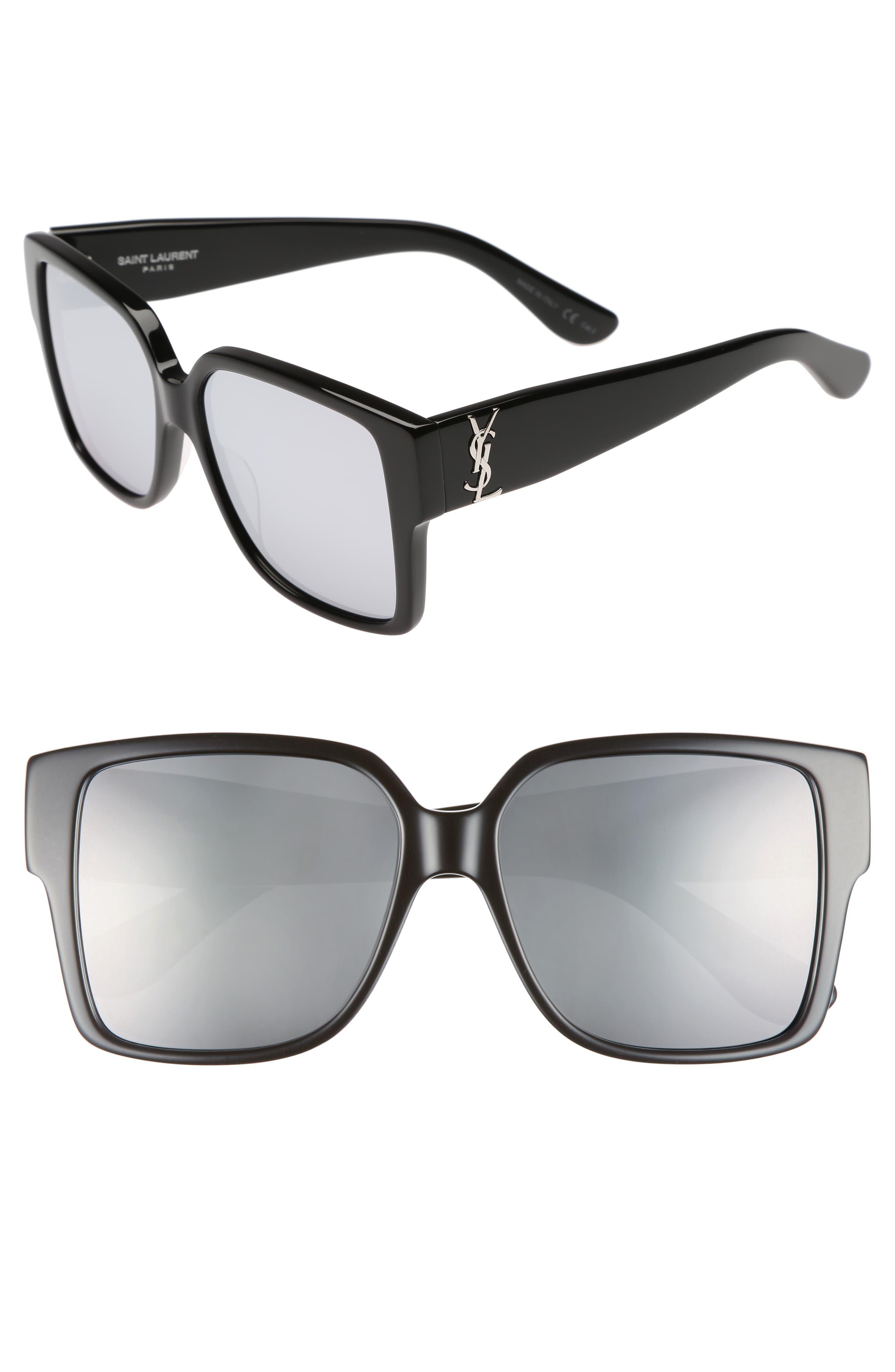 55mm Square Sunglasses,                         Main,                         color, 001