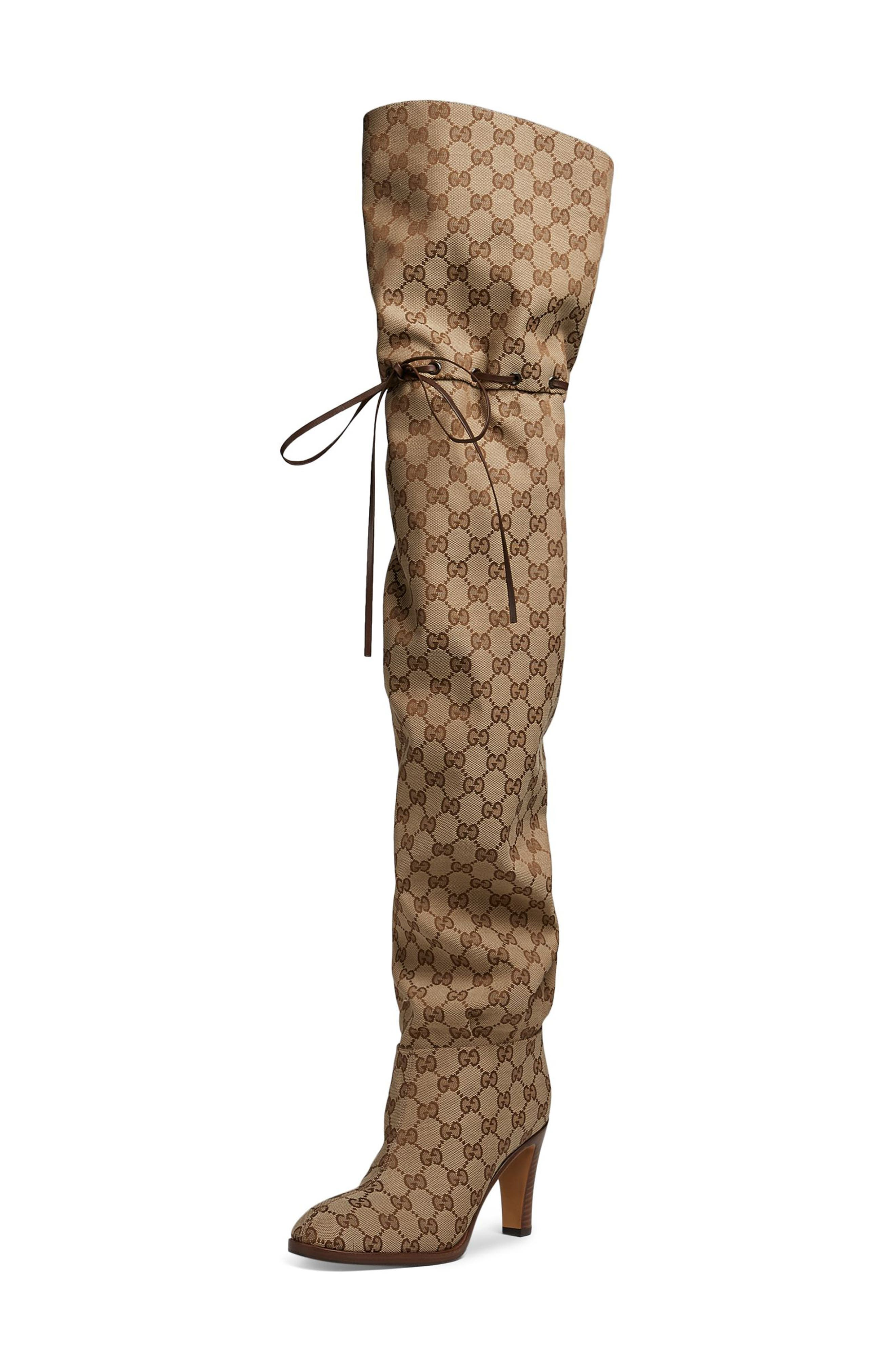 Original GG Canvas Over the Knee Boot,                             Main thumbnail 1, color,                             BEIGE