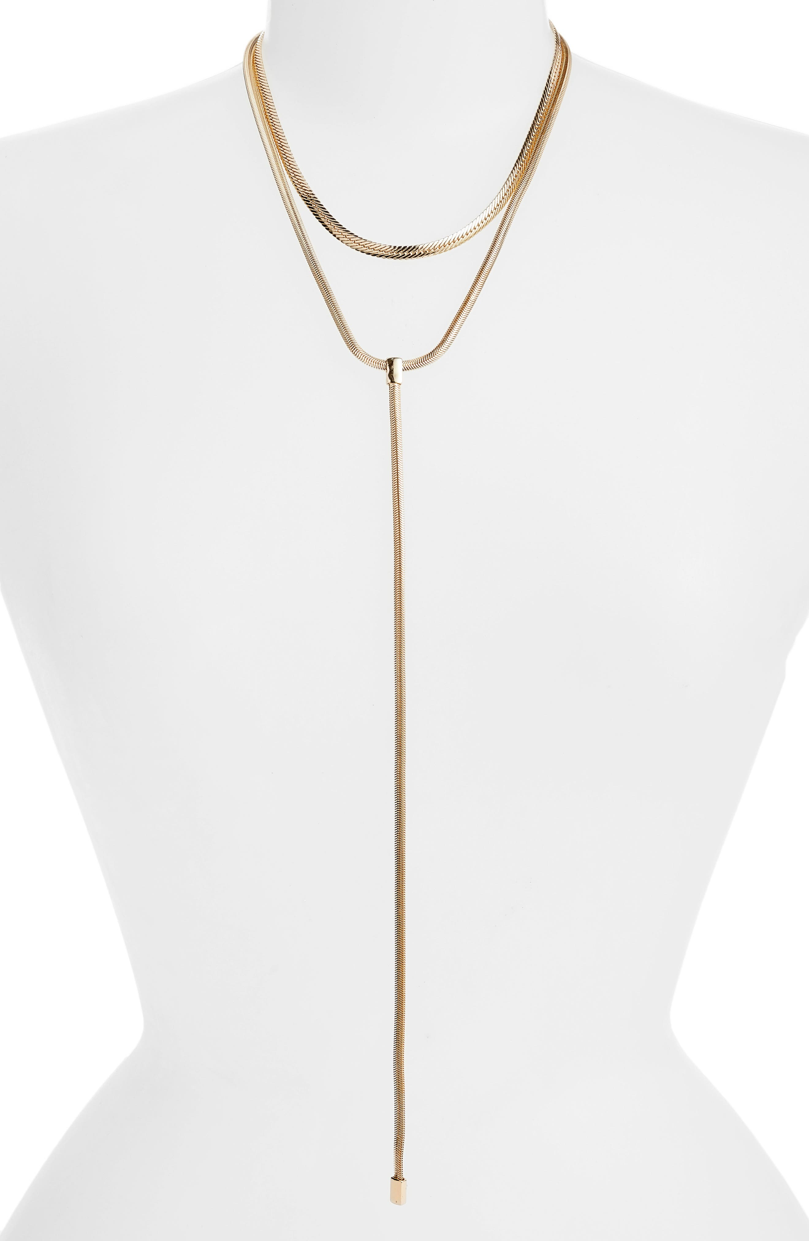 2-in-1 Snake Chain Lariat Necklace,                         Main,                         color, GOLD