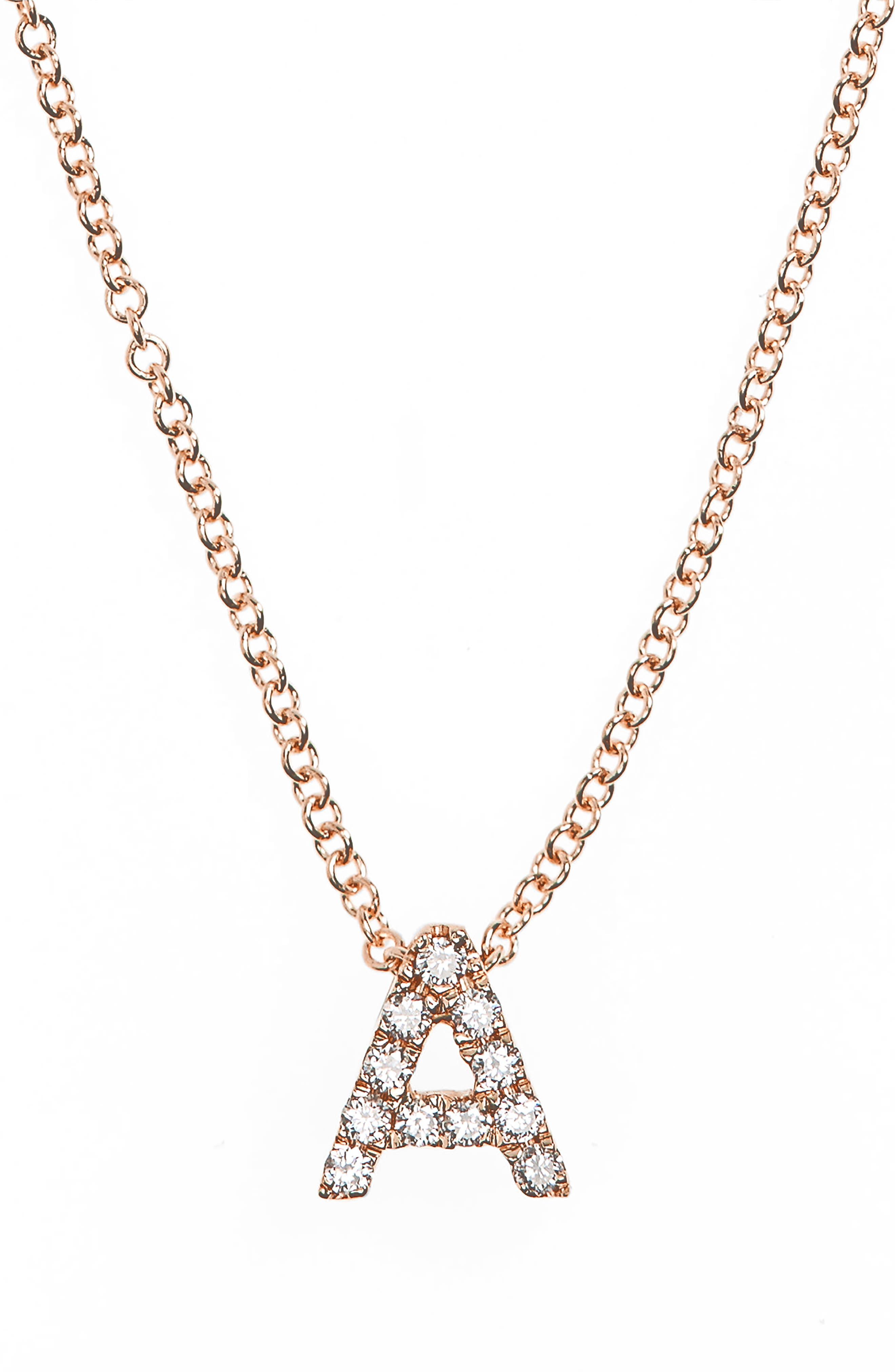 18k Gold Pavé Diamond Initial Pendant Necklace,                             Alternate thumbnail 2, color,                             ROSE GOLD - A