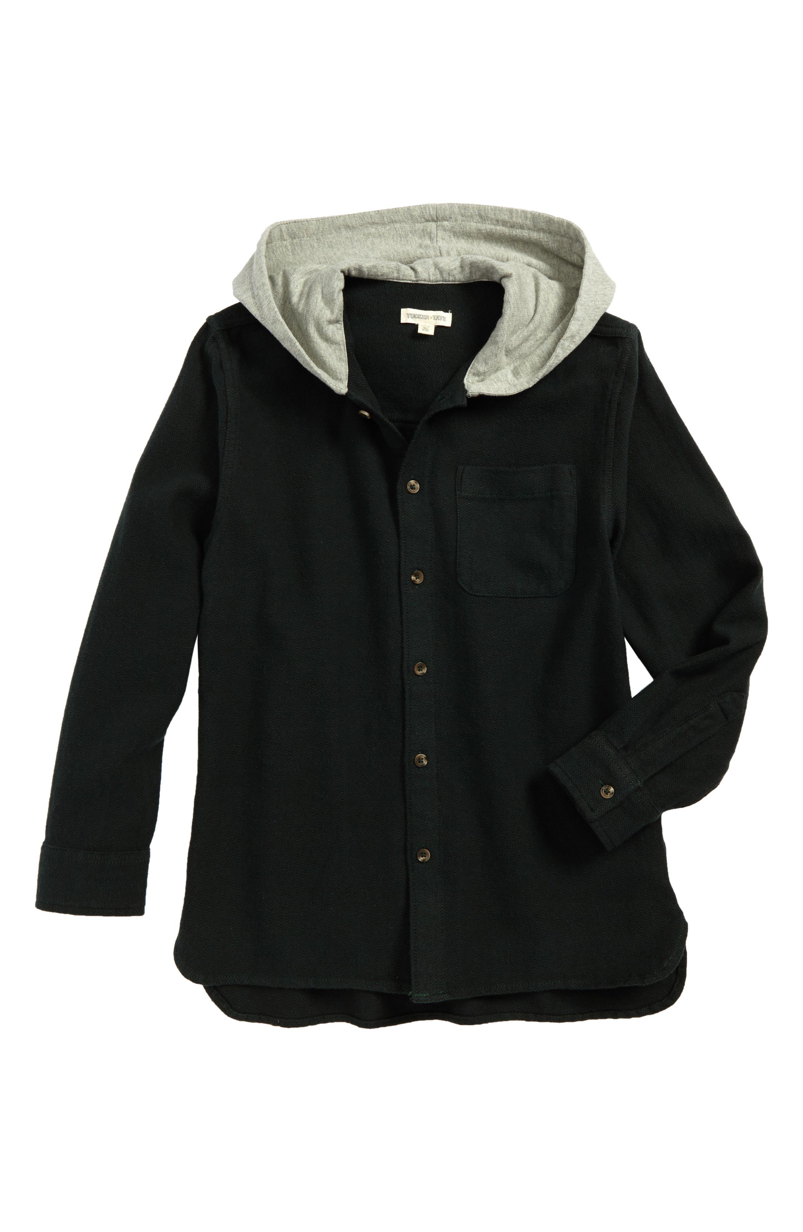 Herringbone Hooded Shirt,                         Main,                         color, 301
