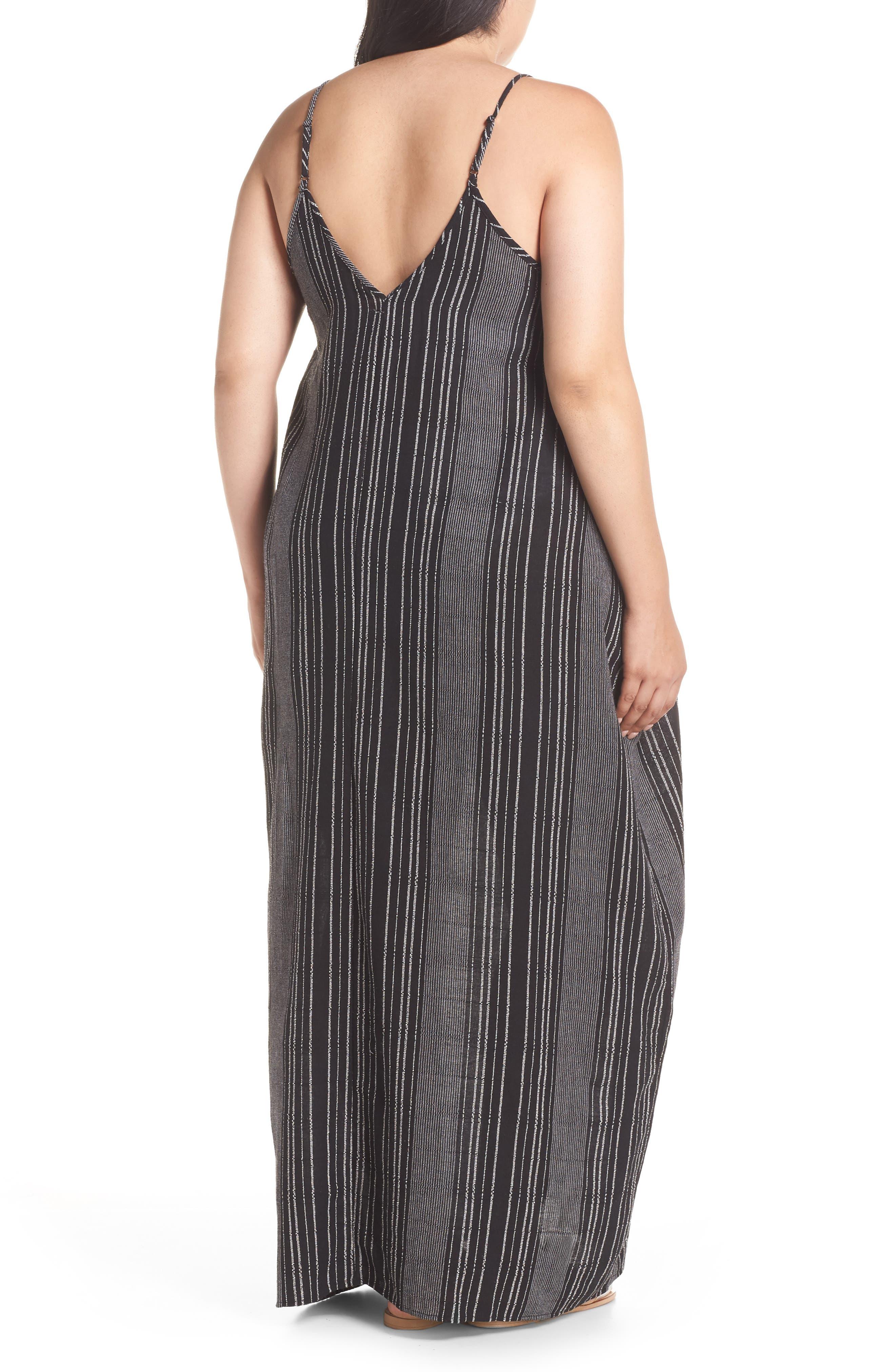 Cover-Up Maxi Dress,                             Alternate thumbnail 2, color,                             BLACK/ WHITE STRIPE