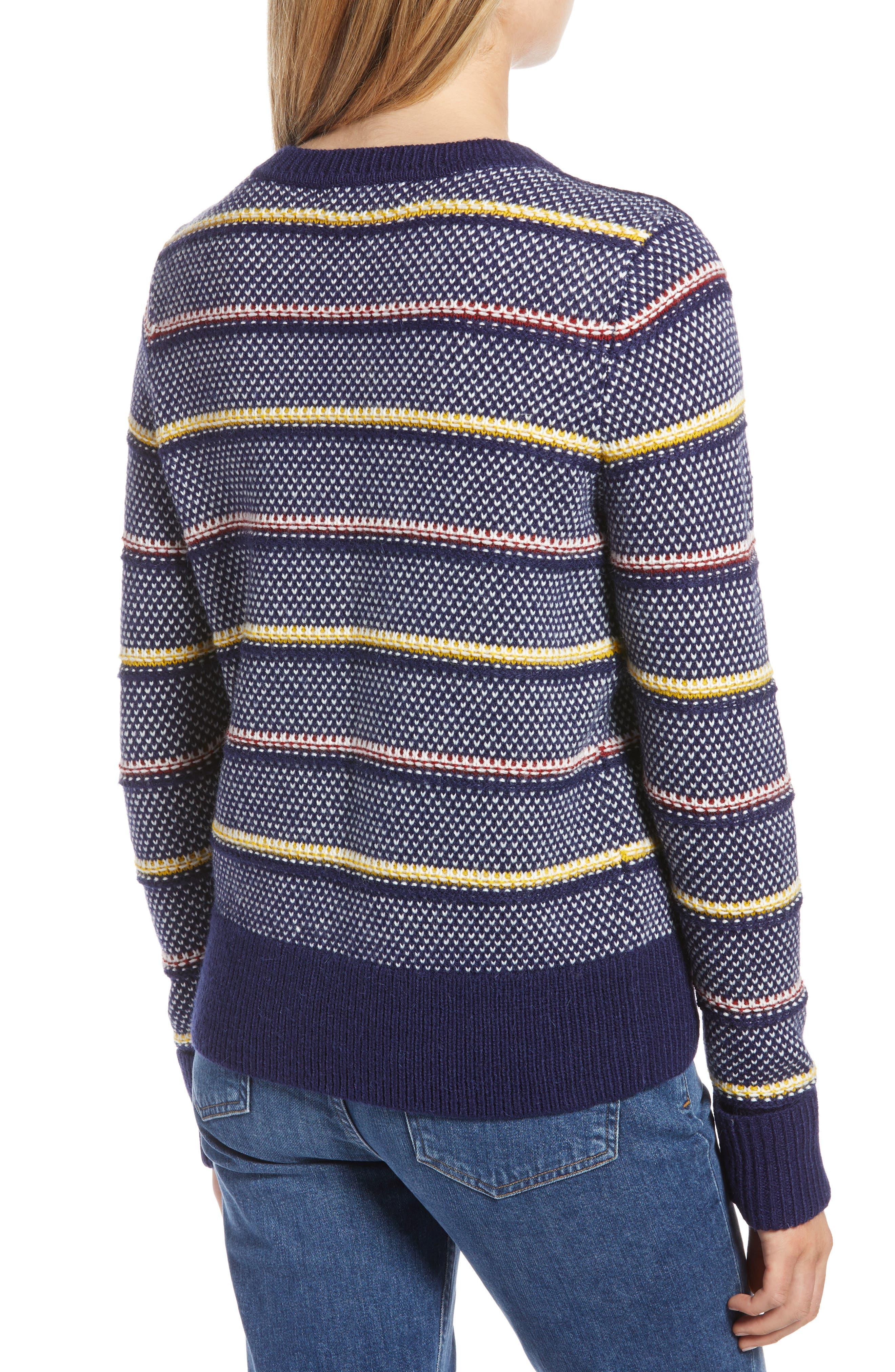 Button Detail Stripe Wool Blend Texture Sweater,                             Alternate thumbnail 2, color,                             NAVY BERET PATTERN