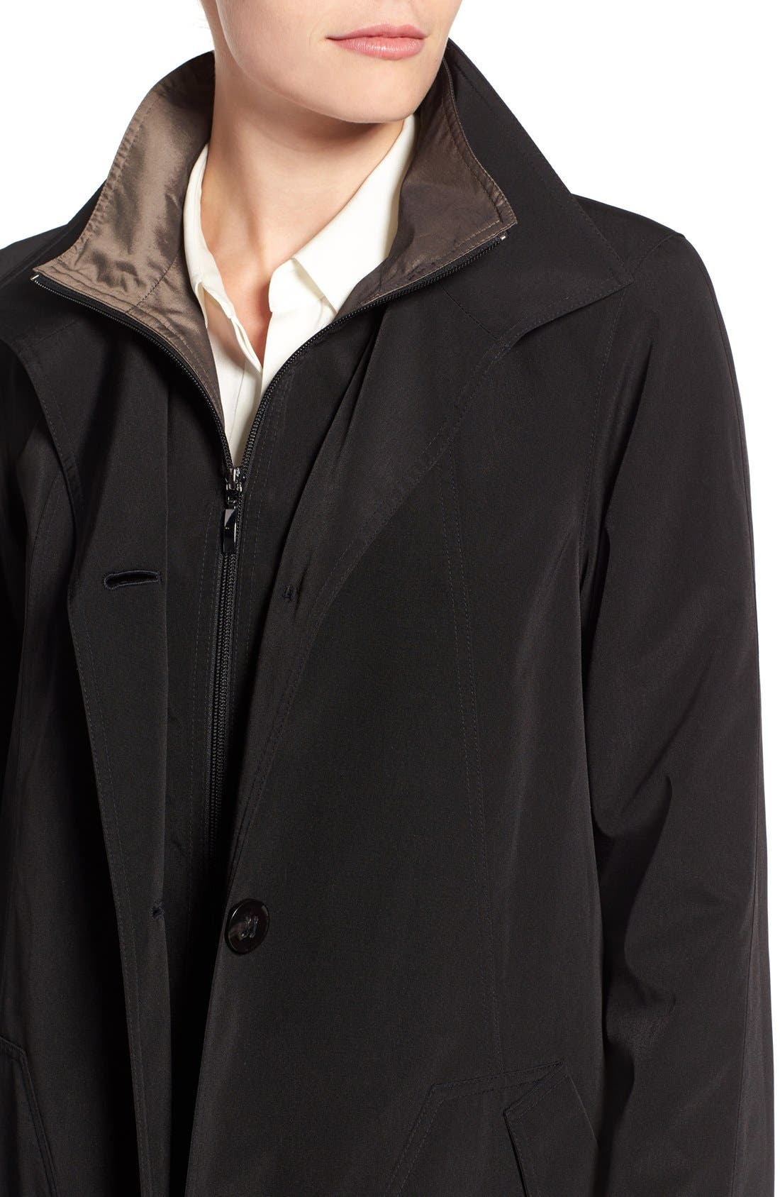 Full Length Two-Tone Silk Look Raincoat,                             Alternate thumbnail 7, color,                             BLACK