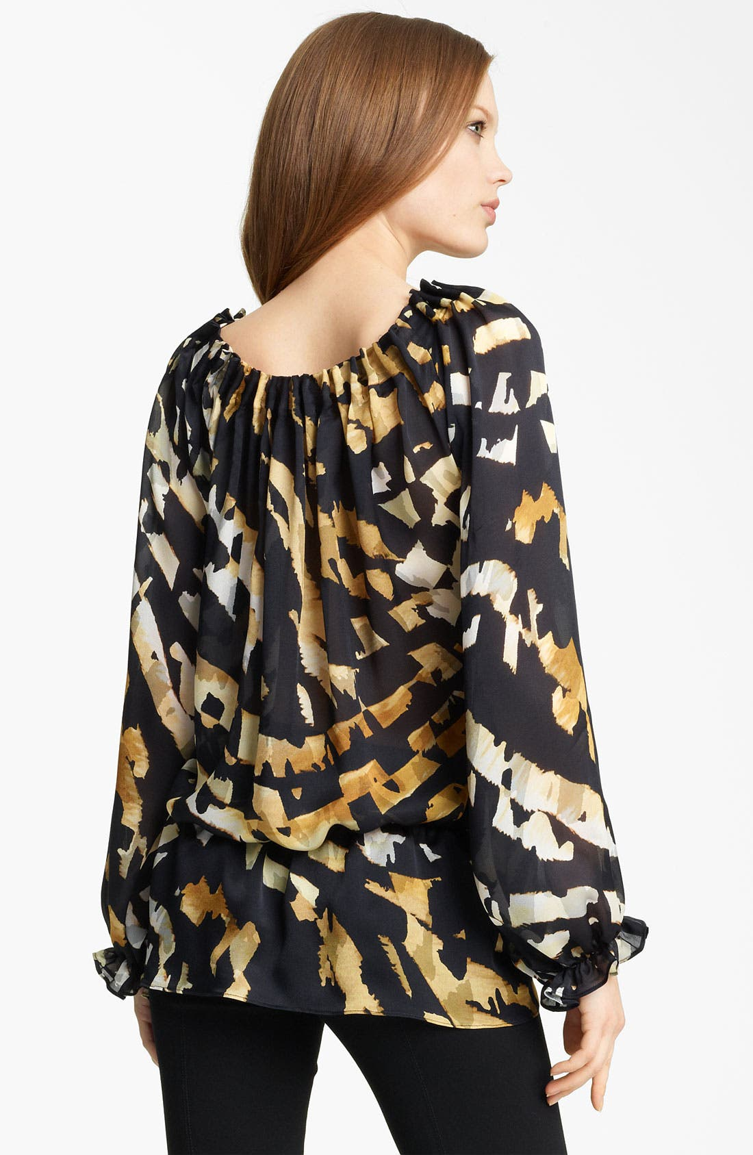 Animal Print Silk Blouse,                             Alternate thumbnail 3, color,                             001