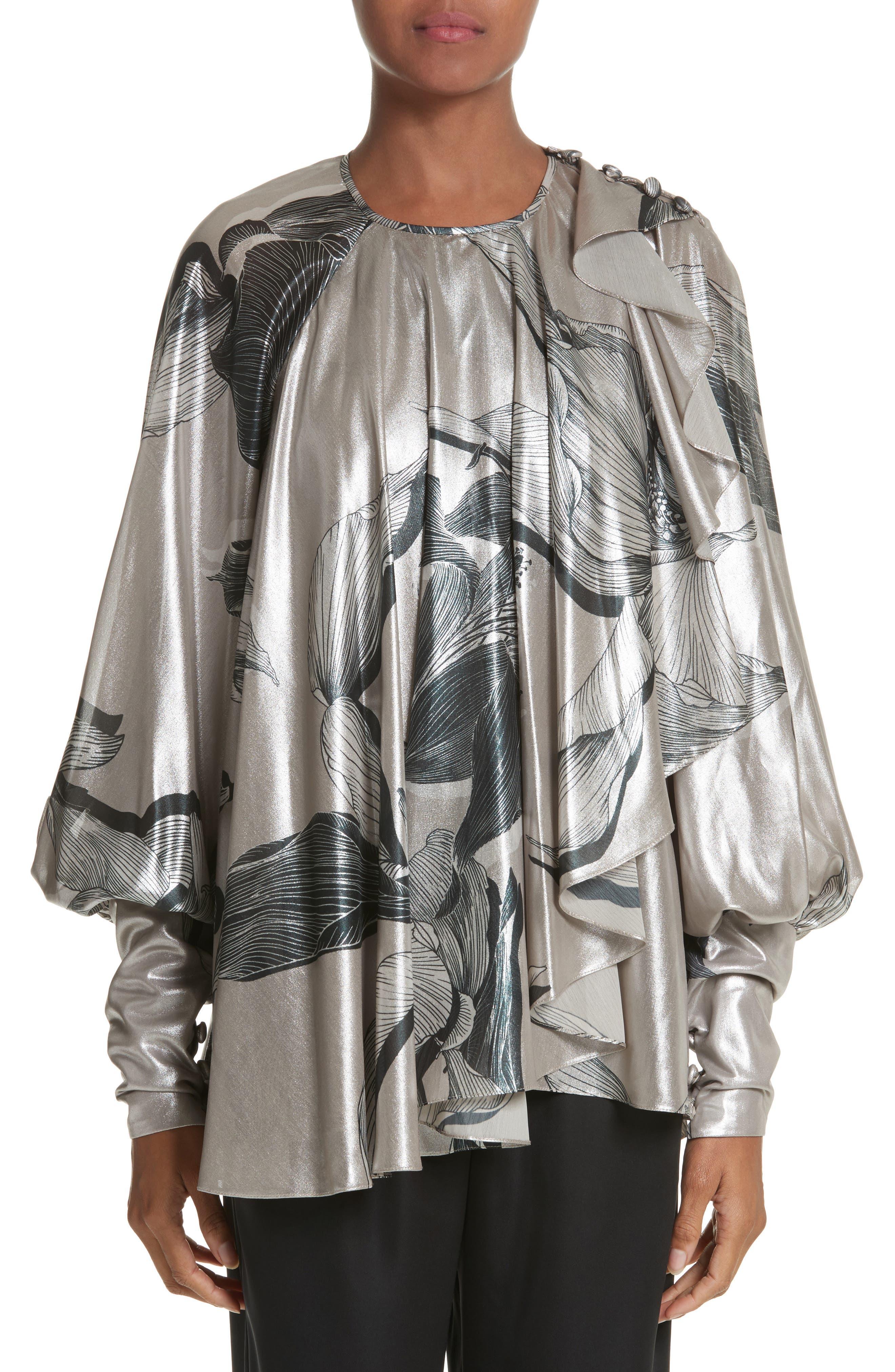 Iris Satin Silk Blend Drape Top,                             Main thumbnail 1, color,                             220