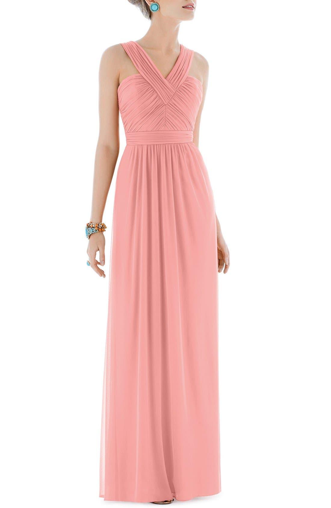 Shirred Chiffon V-Neck Gown,                             Main thumbnail 1, color,                             633