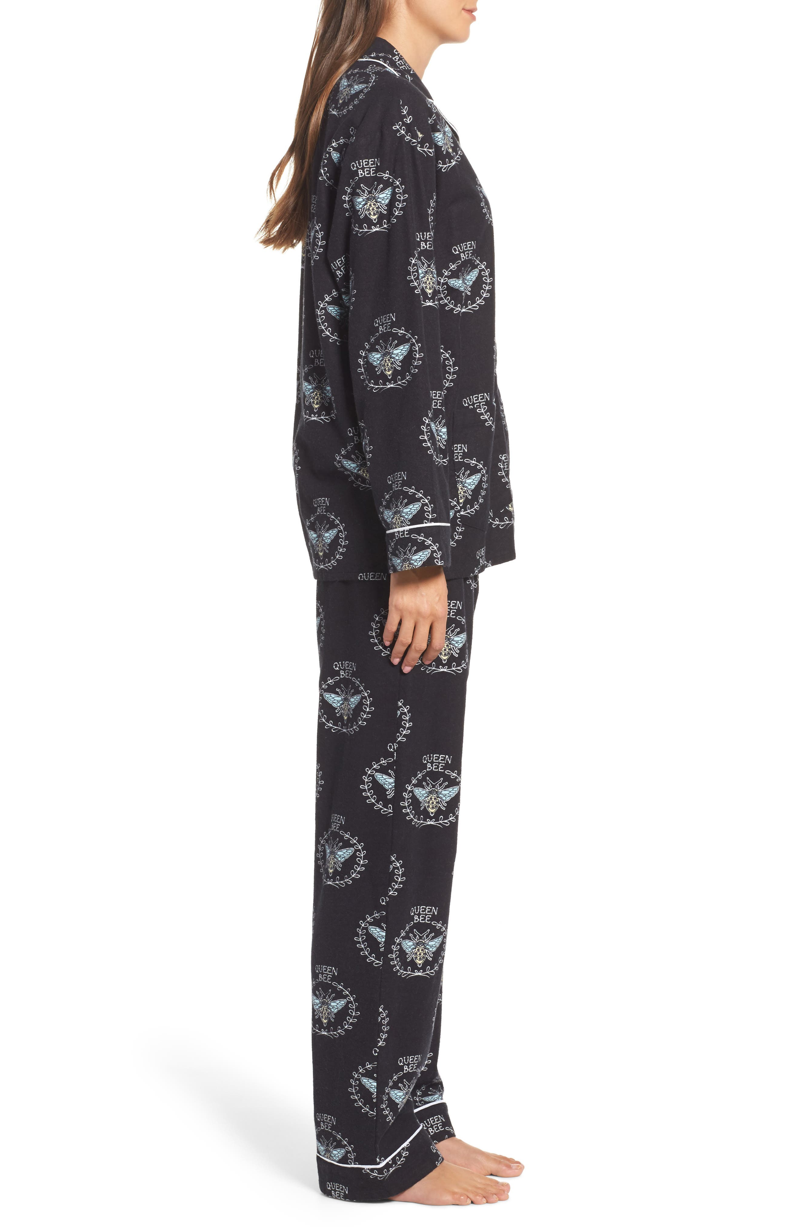 Print Flannel Pajamas,                             Alternate thumbnail 3, color,                             001