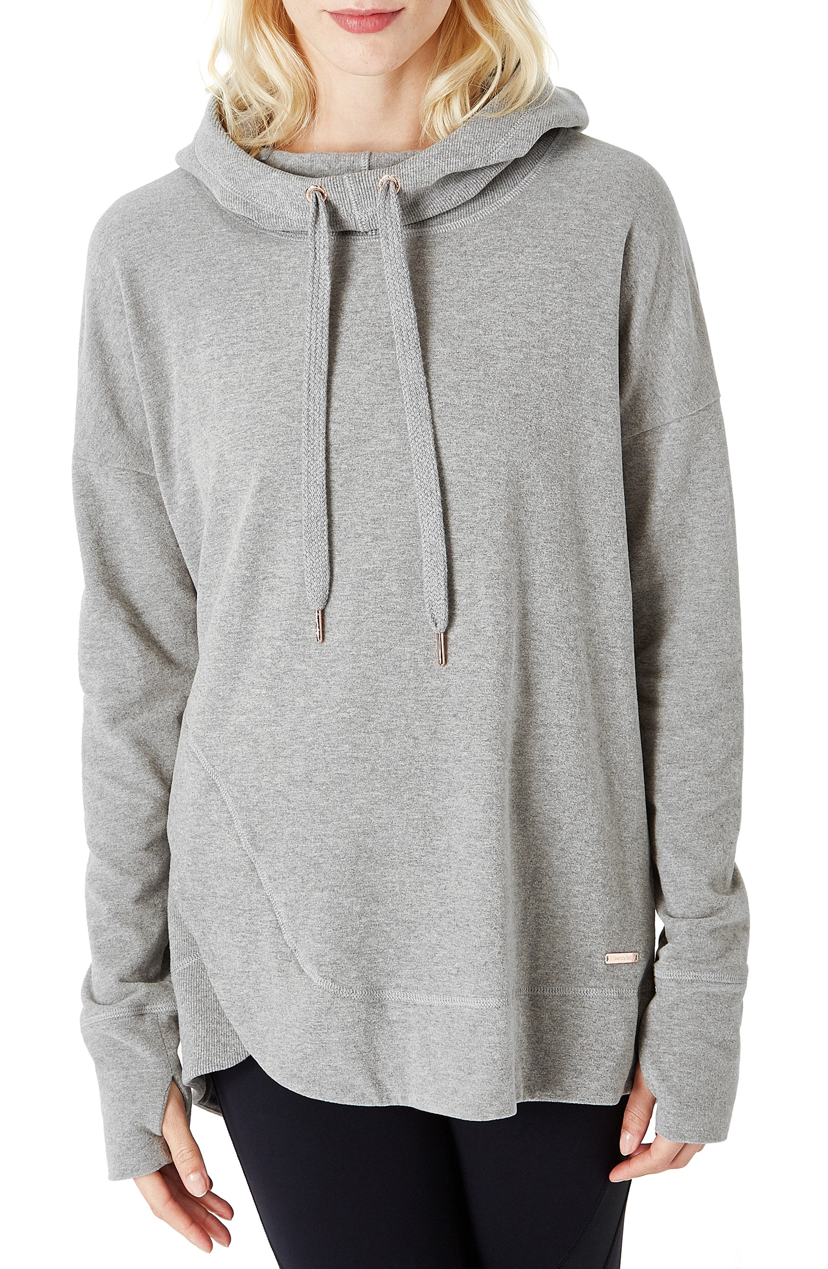 Invigorate Luxe Hoodie,                             Main thumbnail 1, color,                             LIGHT GREY MARL