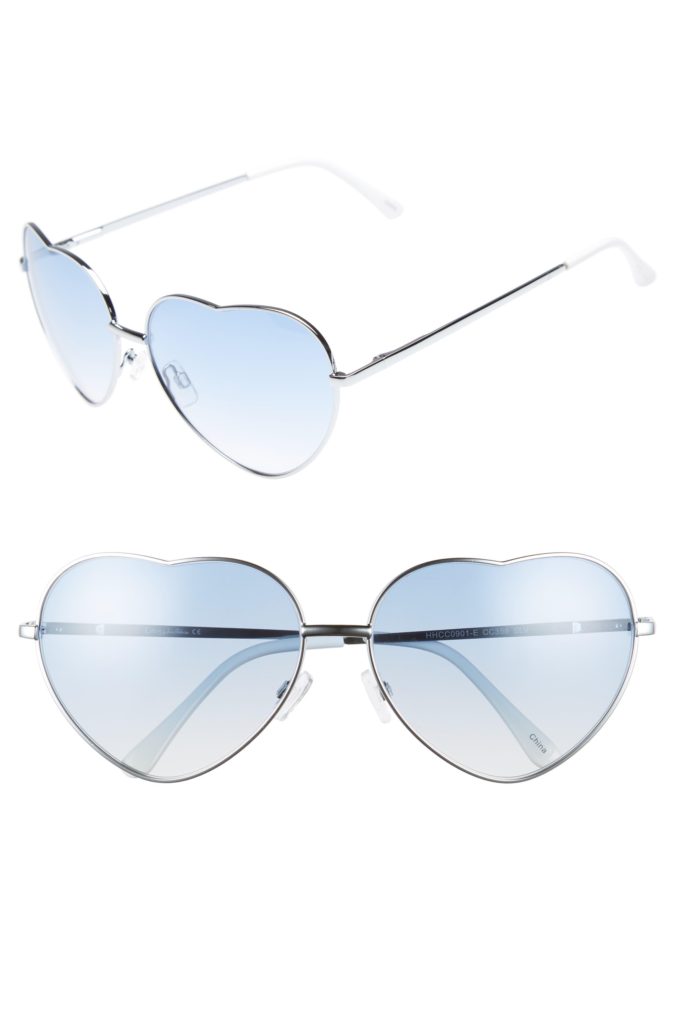 60mm Metal Heart Sunglasses,                             Main thumbnail 1, color,                             040