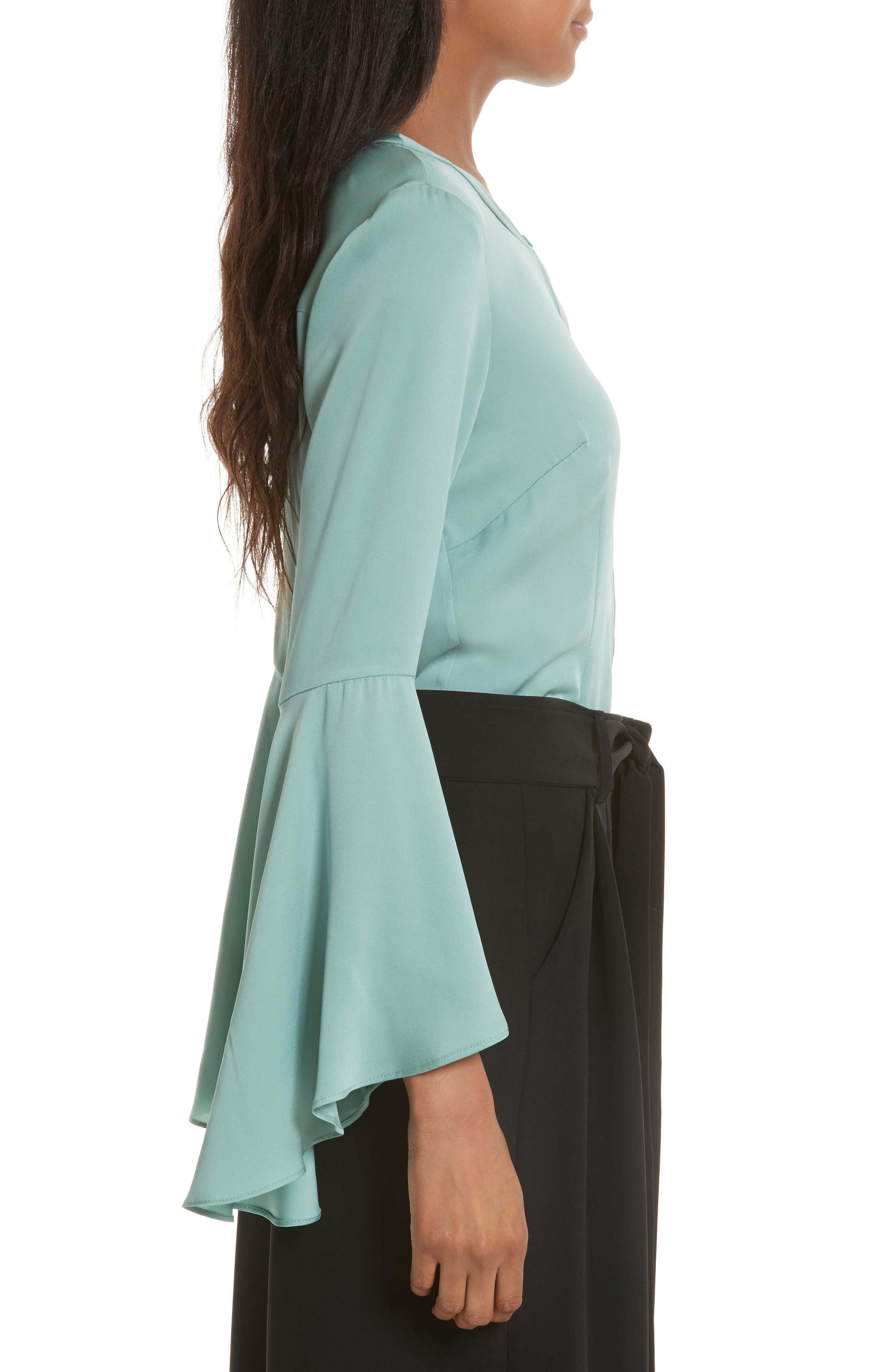 Michelle Bell Sleeve Stretch Silk Blouse,                             Alternate thumbnail 3, color,                             419