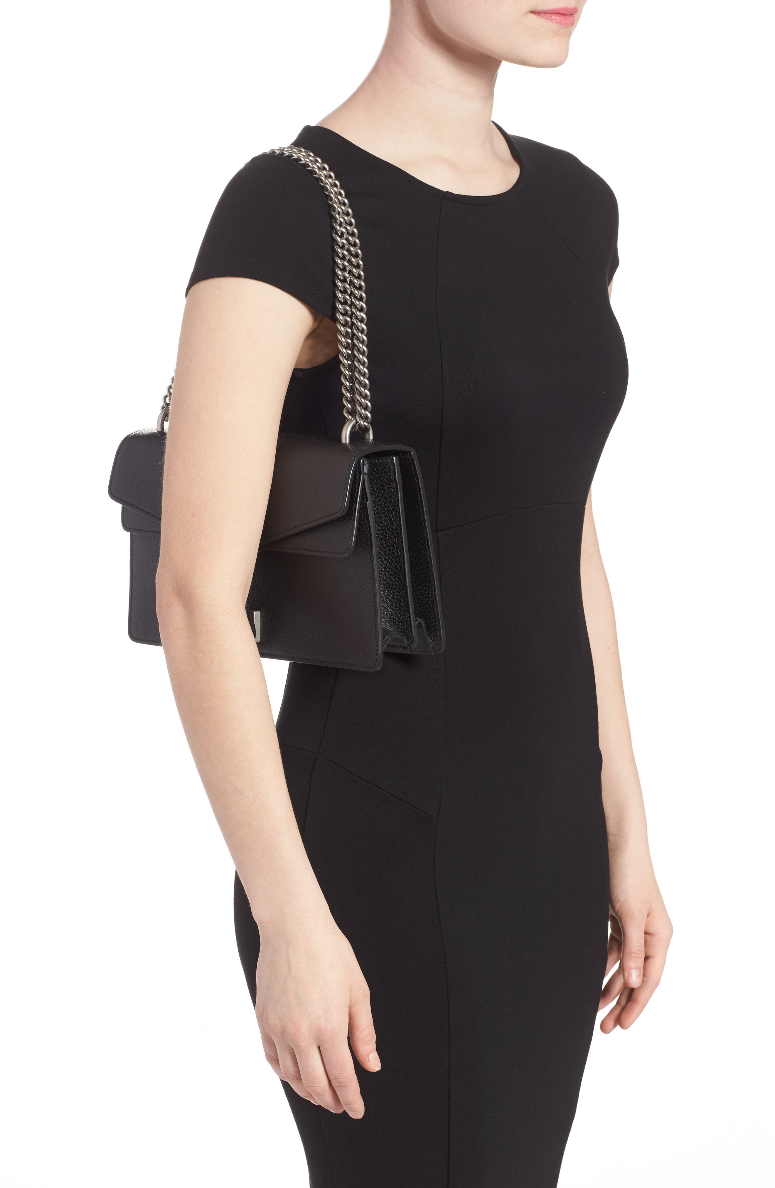 Small Dionysus Leather Shoulder Bag,                             Alternate thumbnail 2, color,                             8176 NERO/BLACK DIAMOND