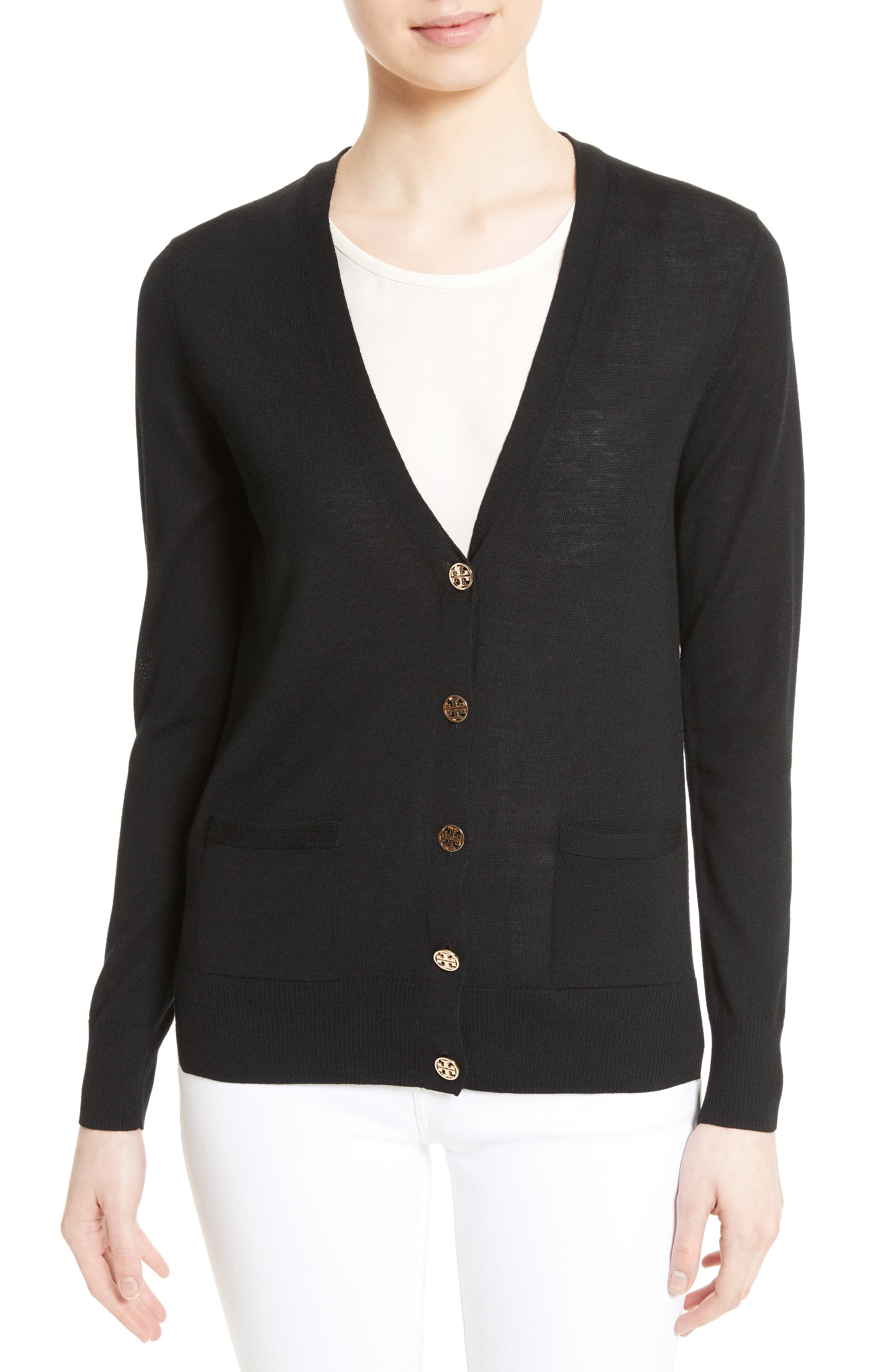 Madeline Merino Wool Cardigan,                         Main,                         color, BLACK
