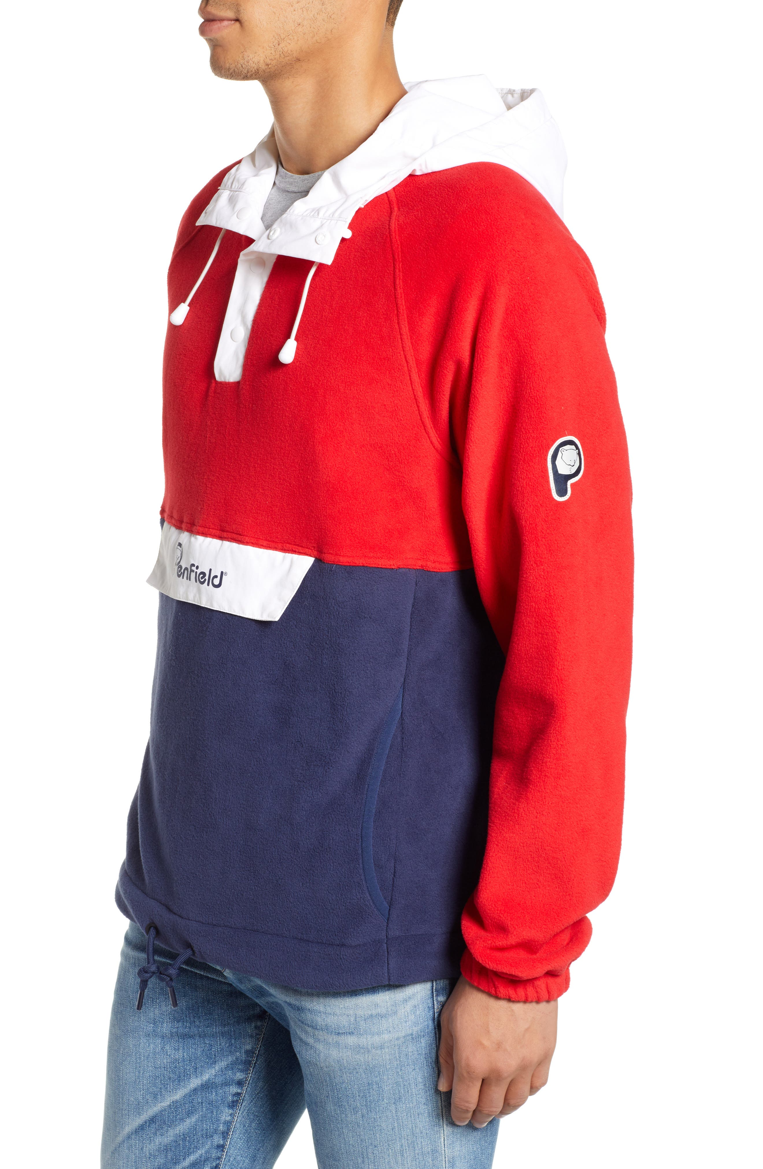 Honnold Colorblock Fleece Pullover Hoodie,                             Alternate thumbnail 3, color,                             MARS RED