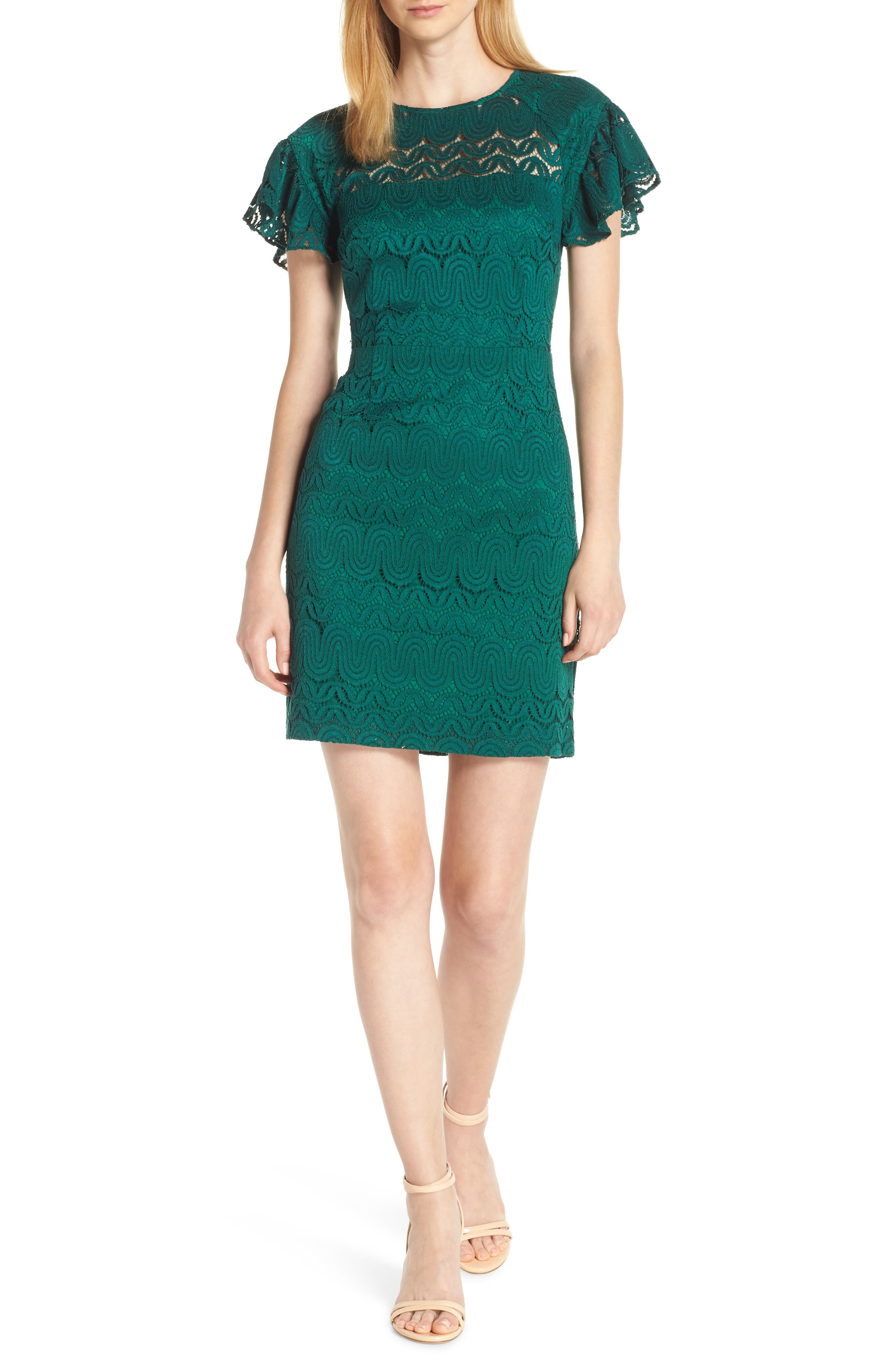 Mai Tai Lace Dress,                         Main,                         color, EMERALD