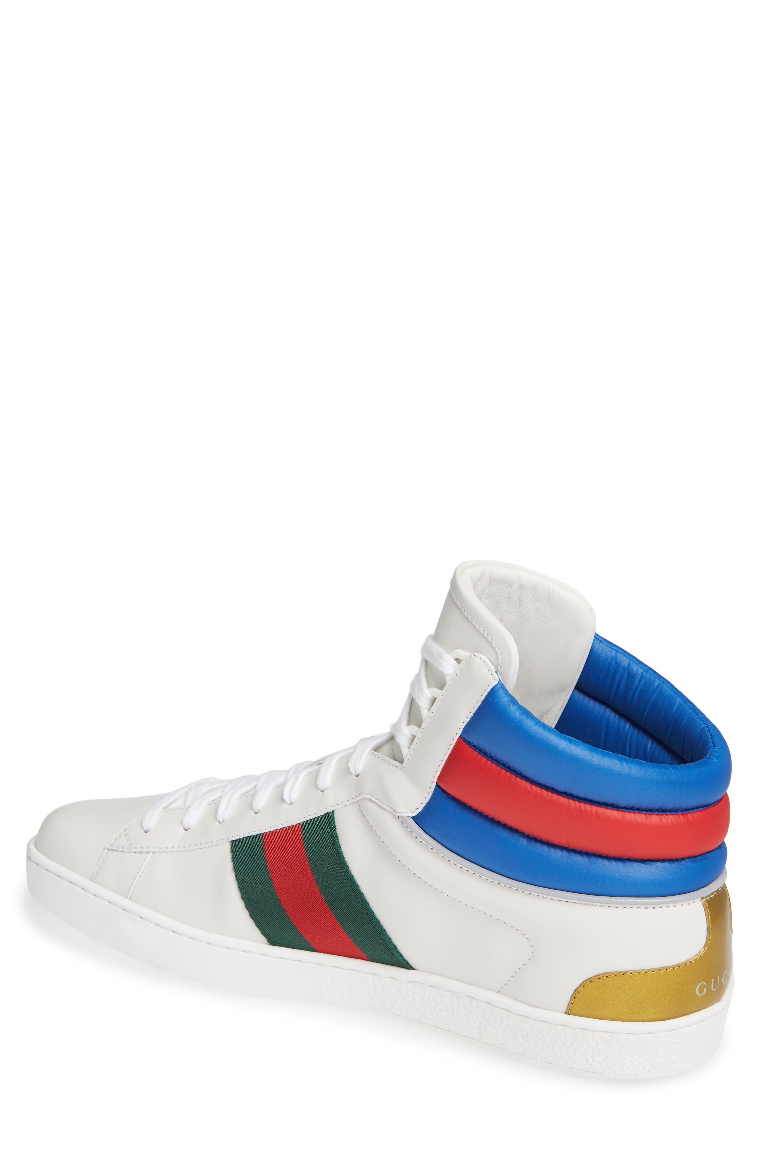 New Ace Stripe High Top Sneaker,                             Alternate thumbnail 2, color,                             BIANCO WHITE