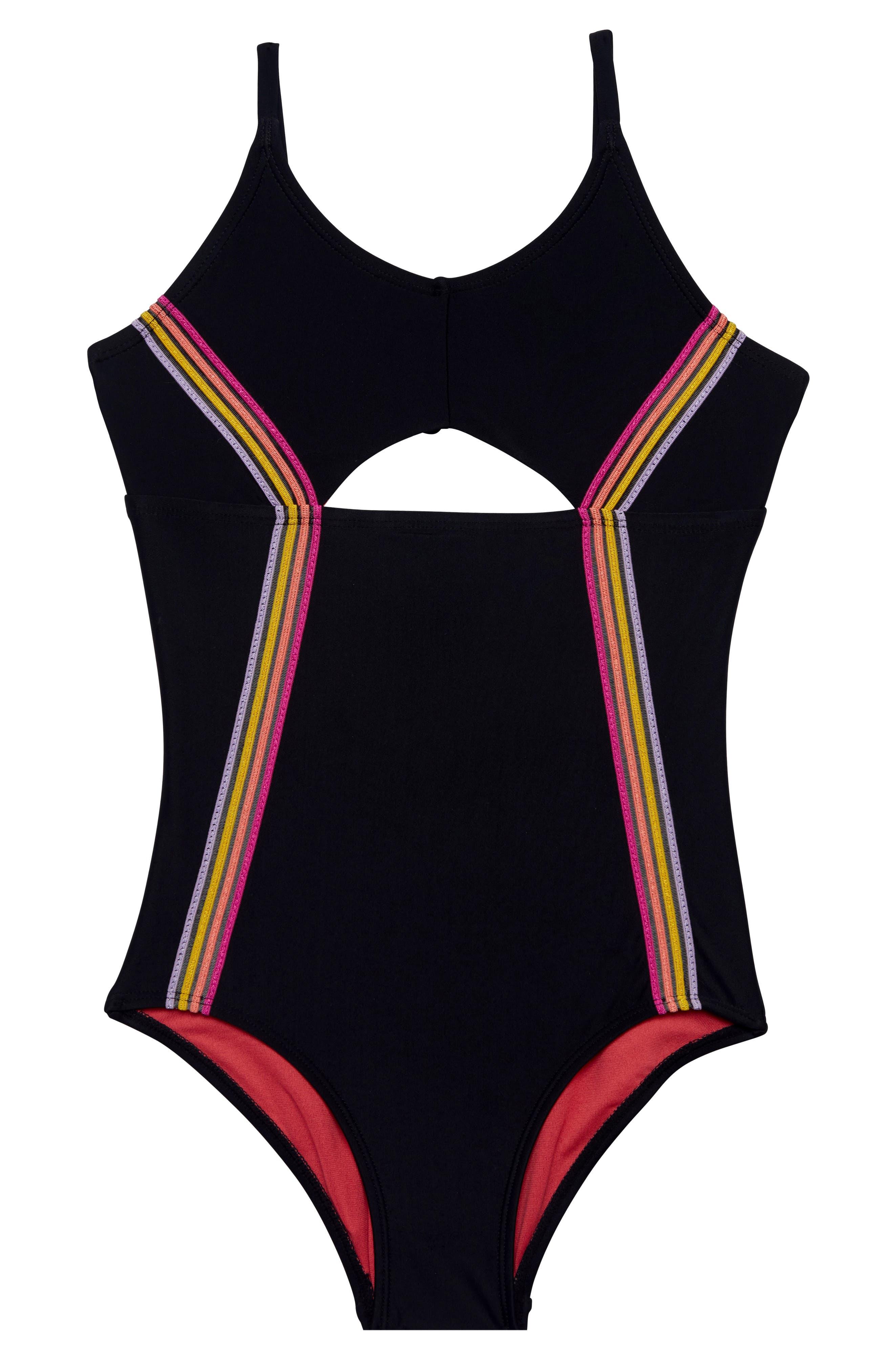 Color of Fun One-Piece Swimsuit,                         Main,                         color, BLACK