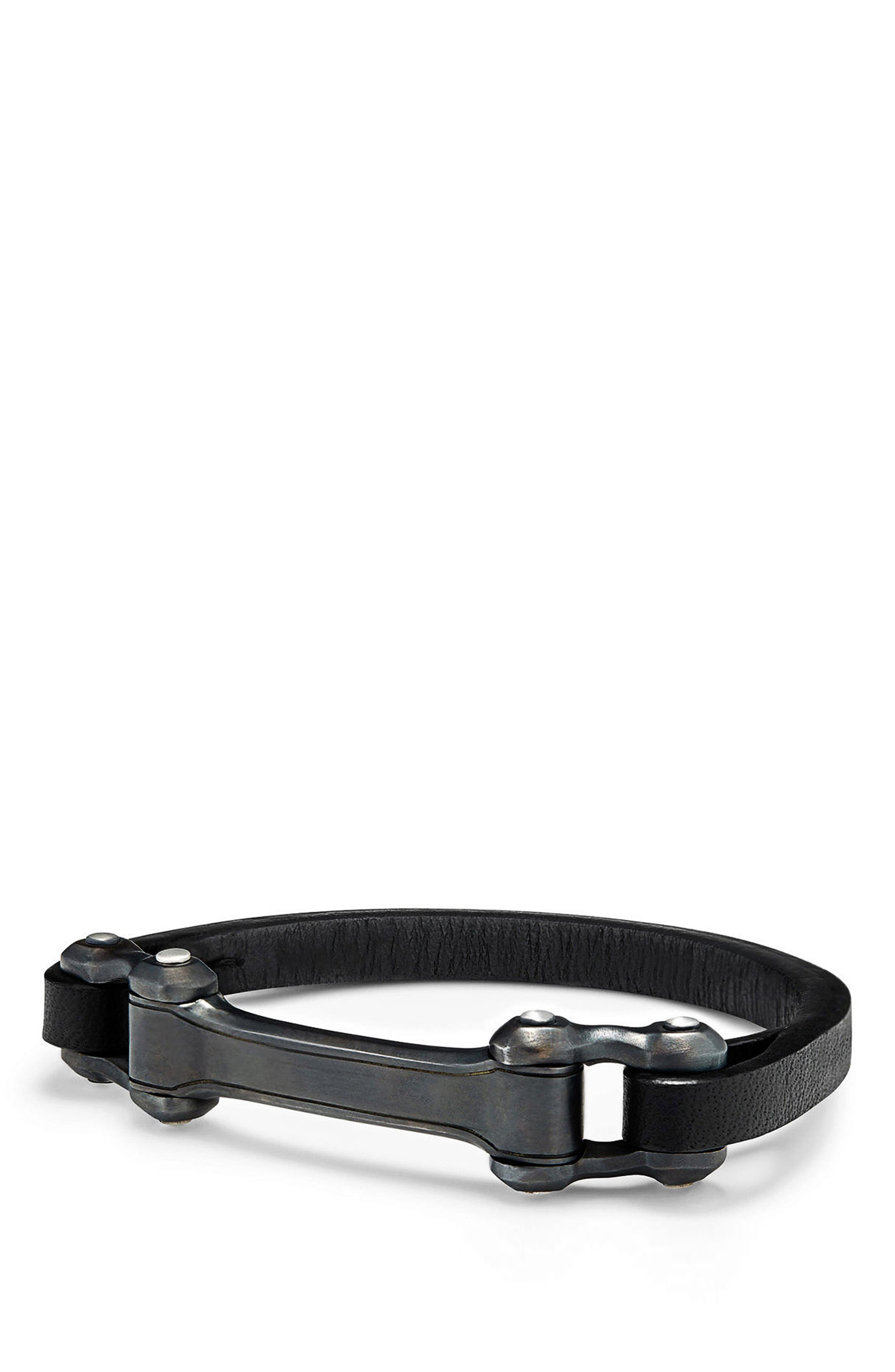 Anvil ID Bracelet,                             Main thumbnail 1, color,                             SILVER/ STEEL/ BLACK LEATHER