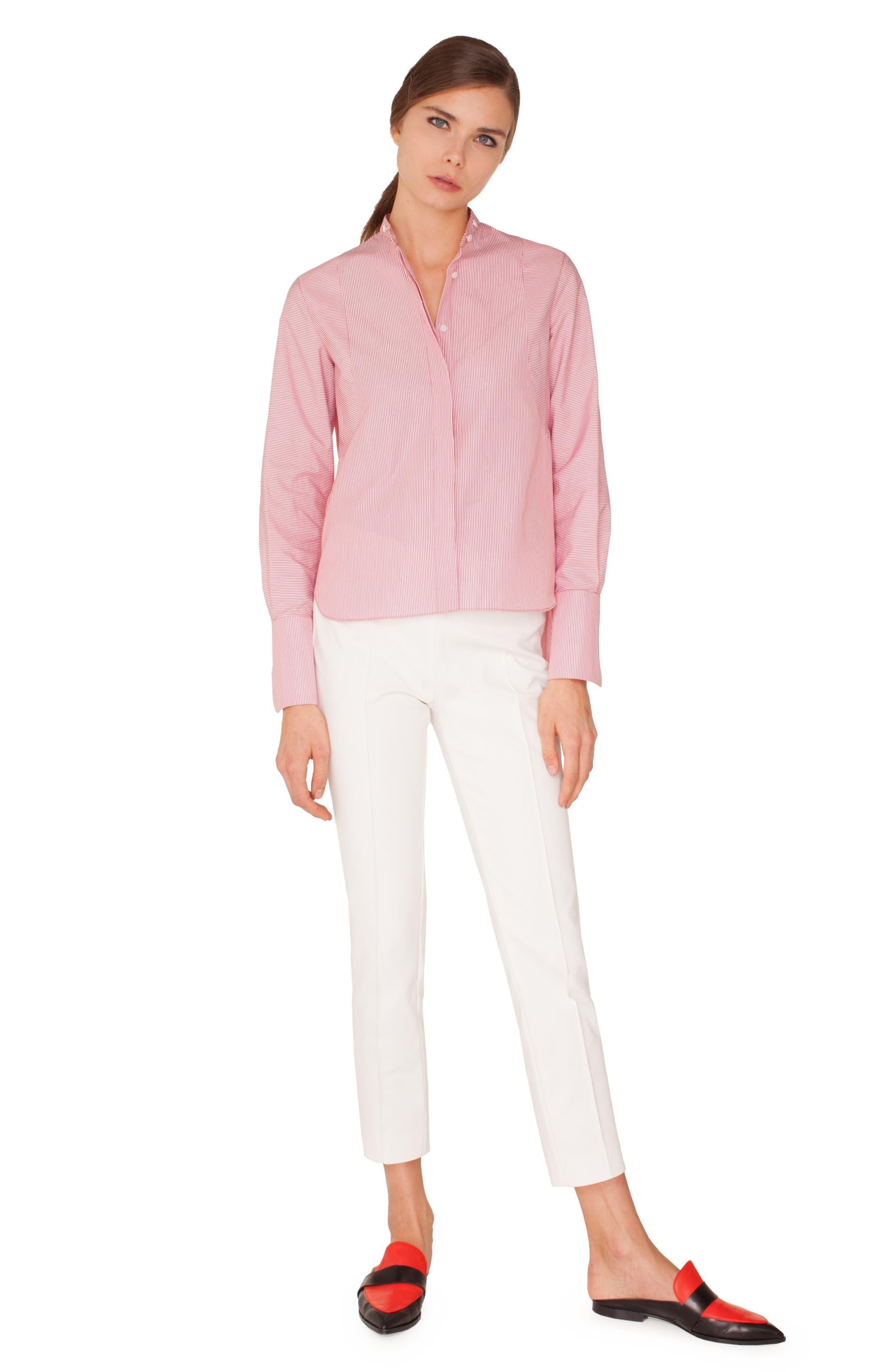 Stripe Cotton Shirt,                             Alternate thumbnail 3, color,                             LIPSTICK-CREAM