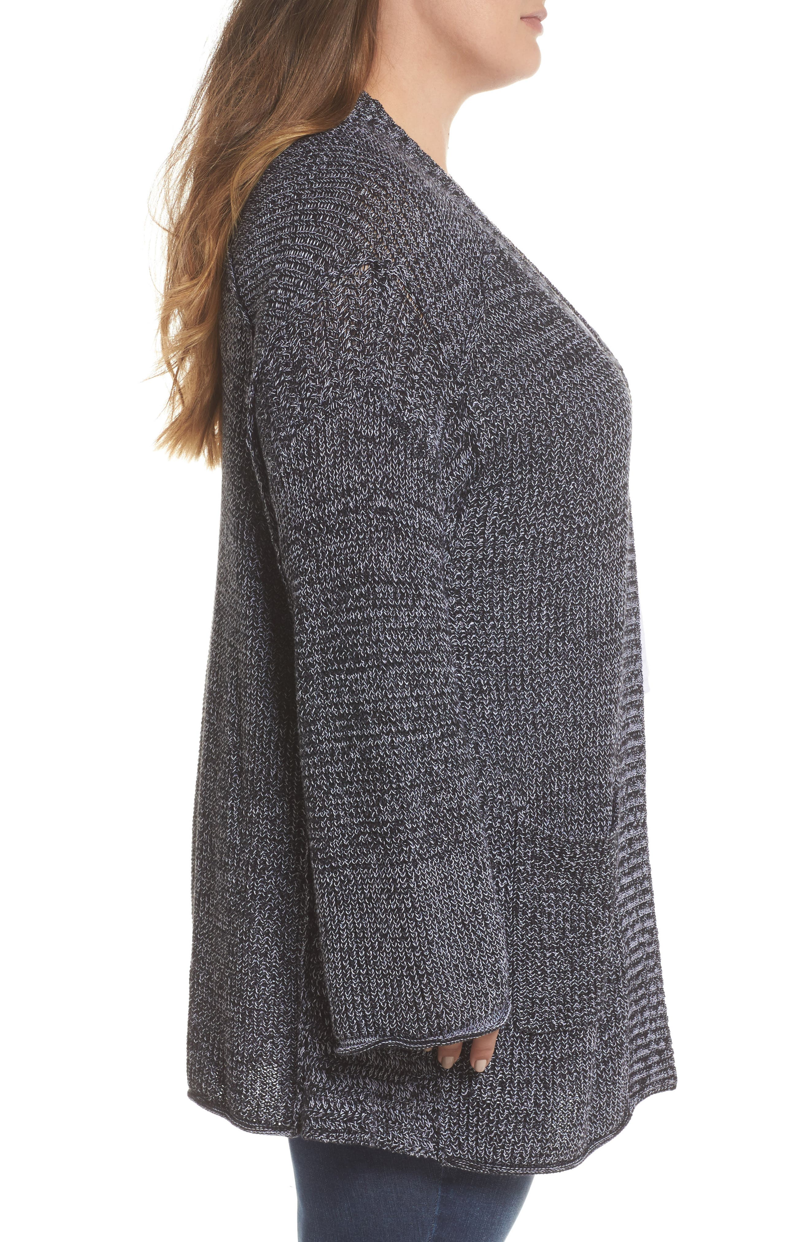 Sweater Knit Cardigan,                             Alternate thumbnail 3, color,                             001