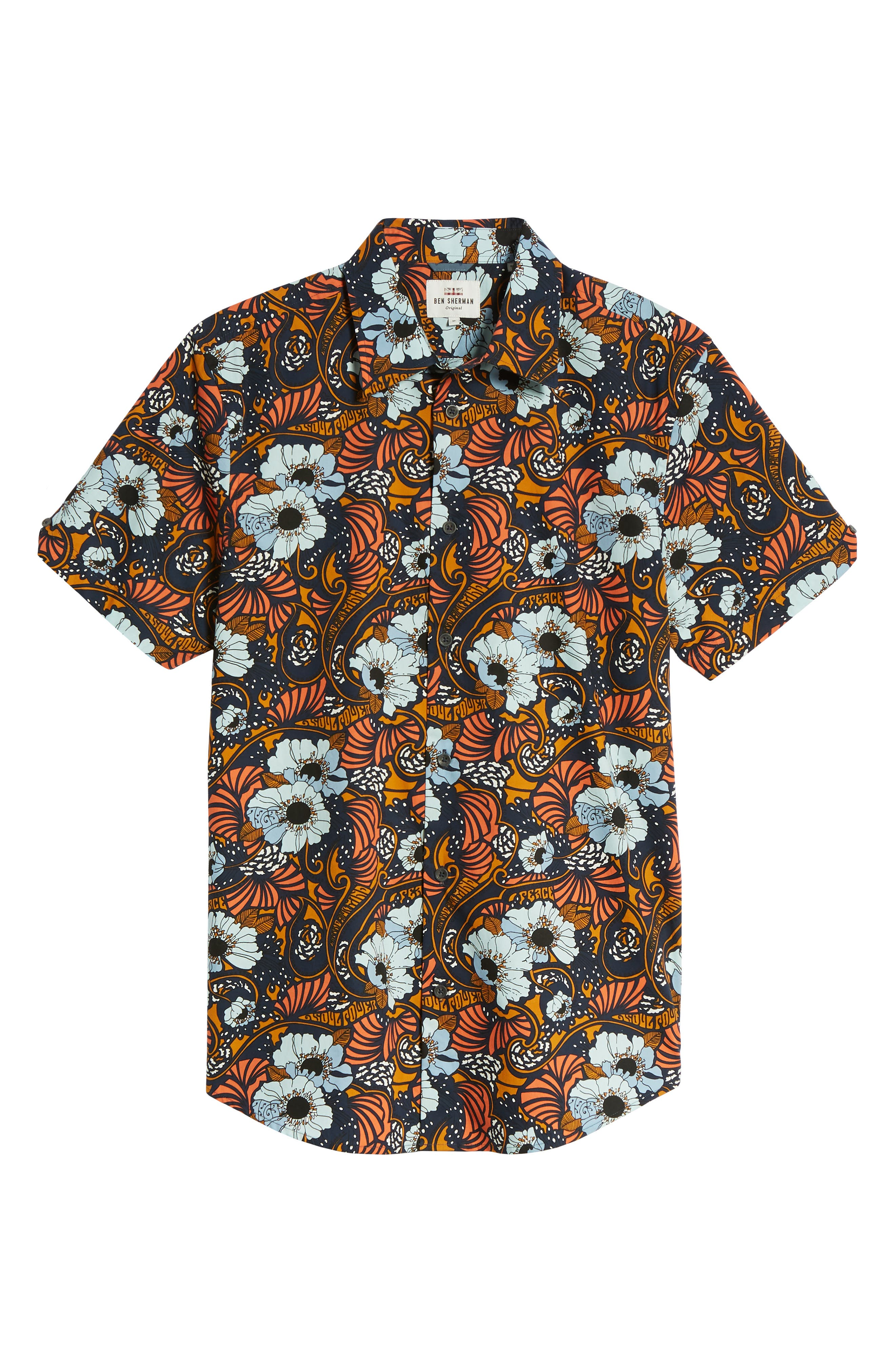 Psychedelic Floral Modern Fit Short Sleeve Sport Shirt,                             Alternate thumbnail 6, color,                             402