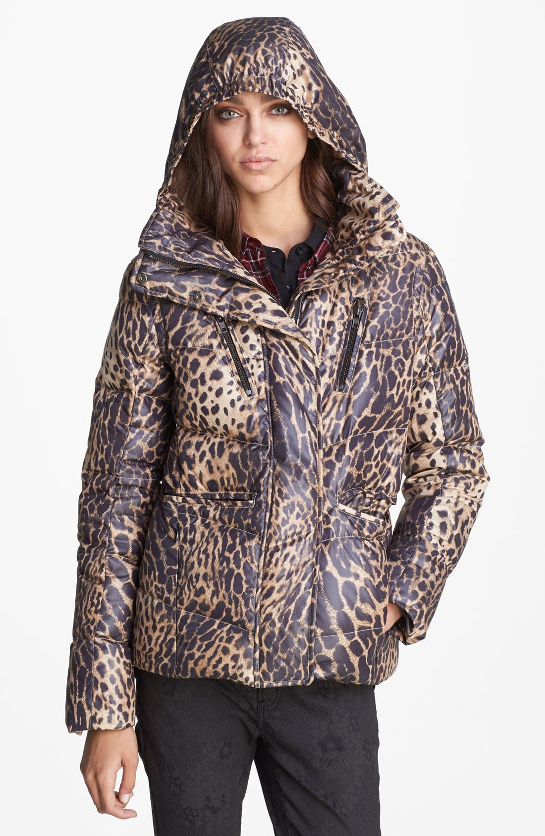 Leopard Print Puffer Jacket,                             Alternate thumbnail 6, color,                             250