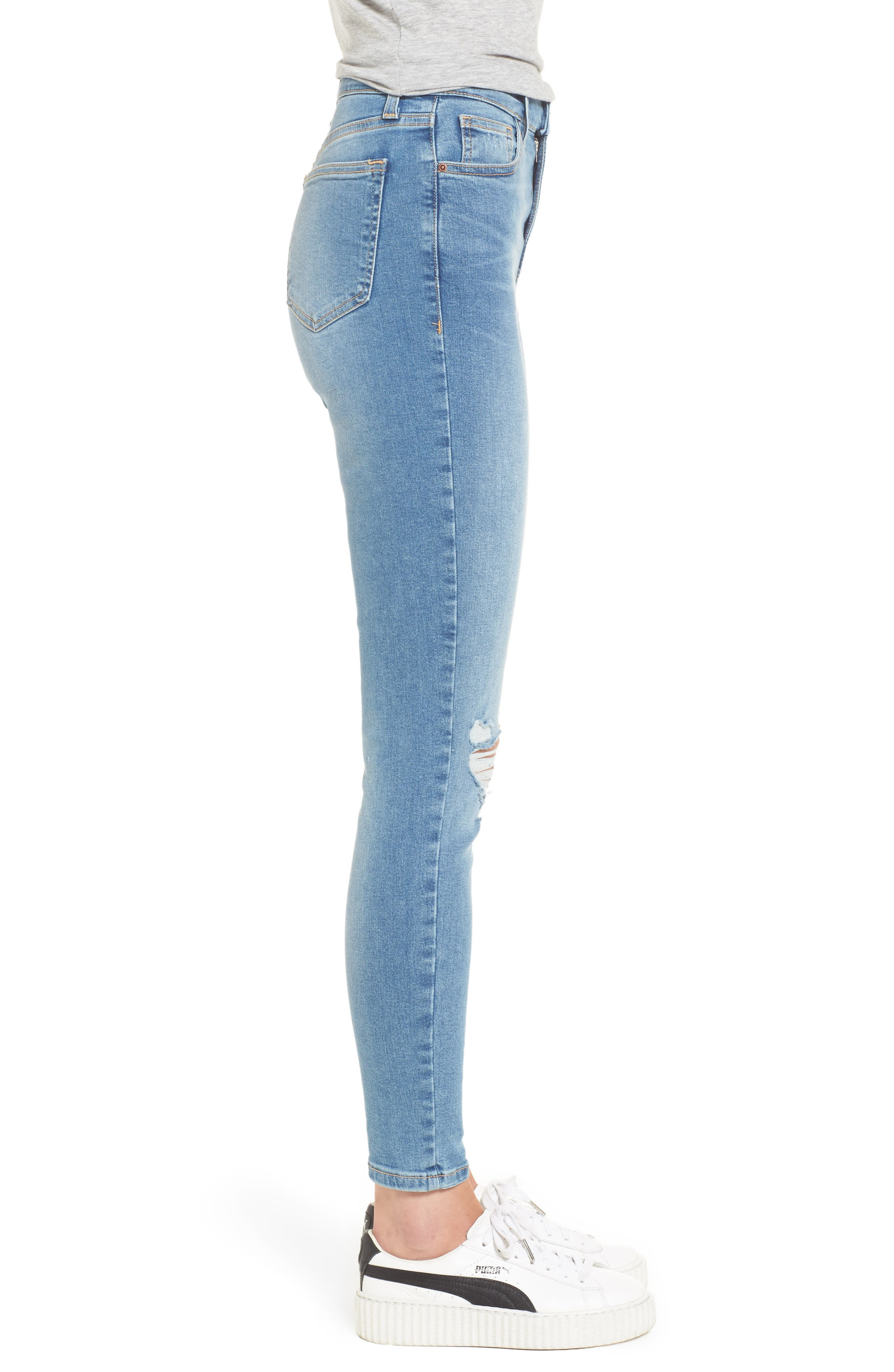 Moto Jamie Ripped High Waist Ankle Skinny Jeans,                             Alternate thumbnail 3, color,                             400