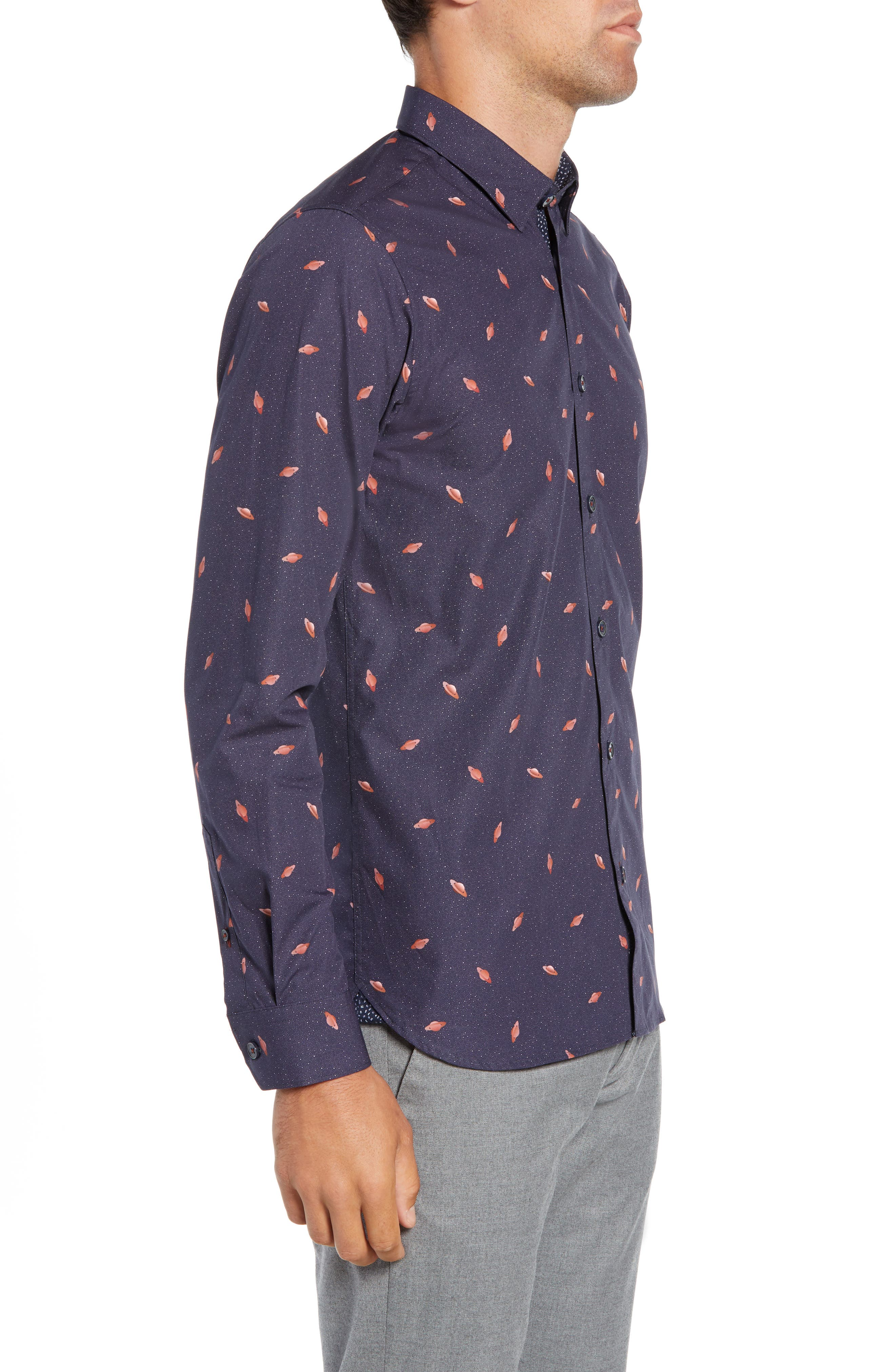 Charcro Slim Fit Print Sport Shirt,                             Alternate thumbnail 4, color,                             NAVY