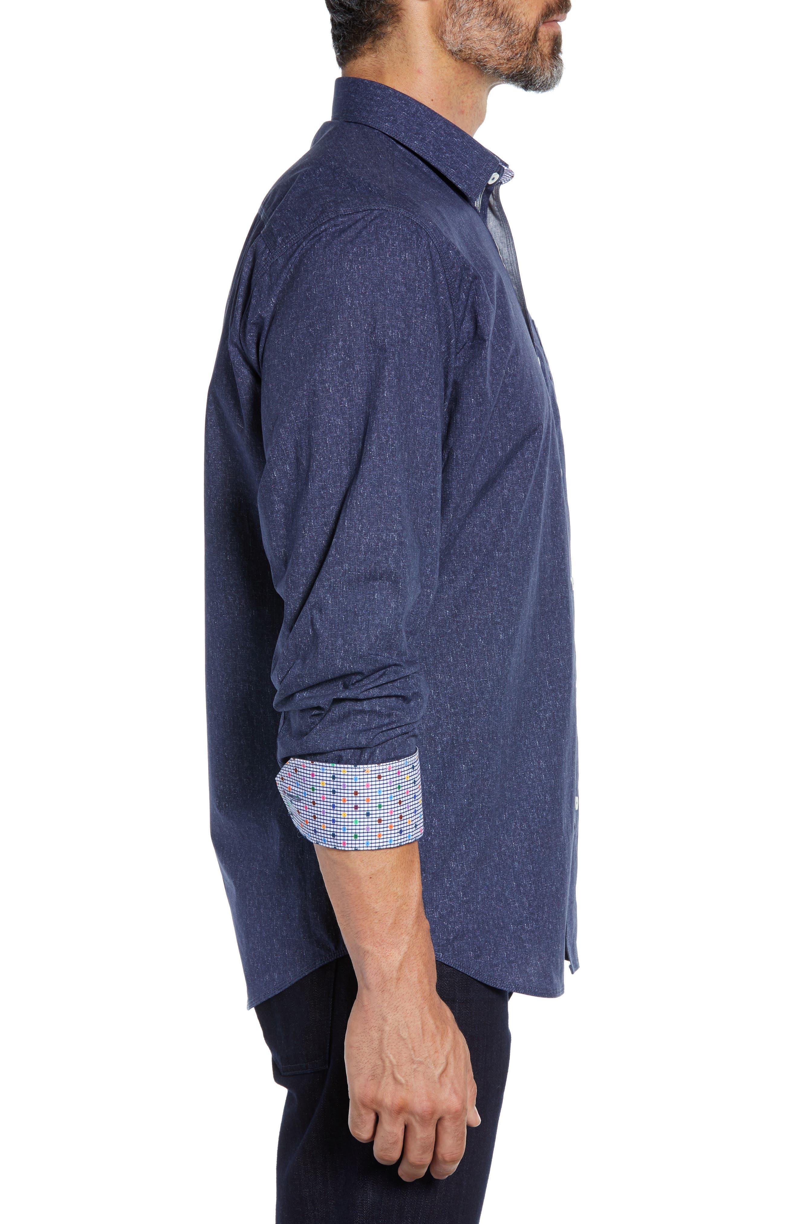 Classic Fit Mélange Sport Shirt,                             Alternate thumbnail 4, color,                             NAVY