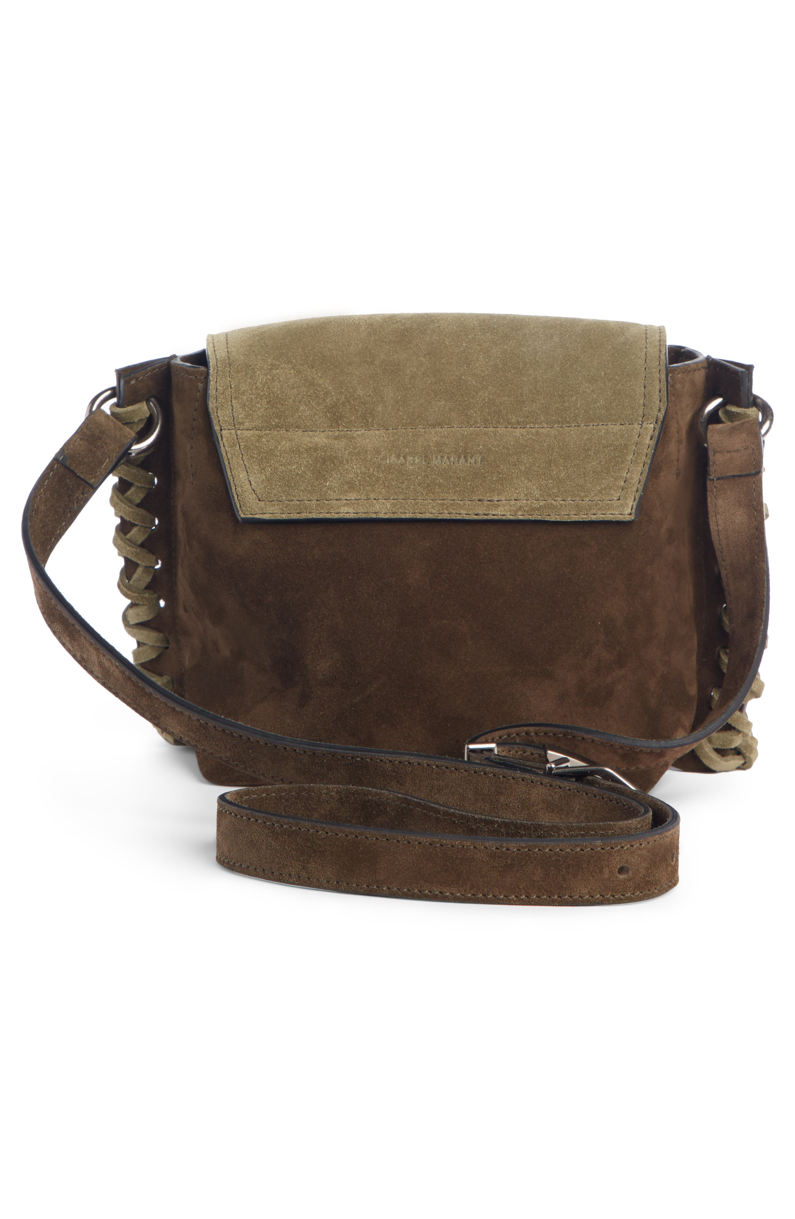 ISABEL MARANT,                             Kleny Colorblock Suede Shoulder Bag,                             Alternate thumbnail 3, color,                             KHAKI