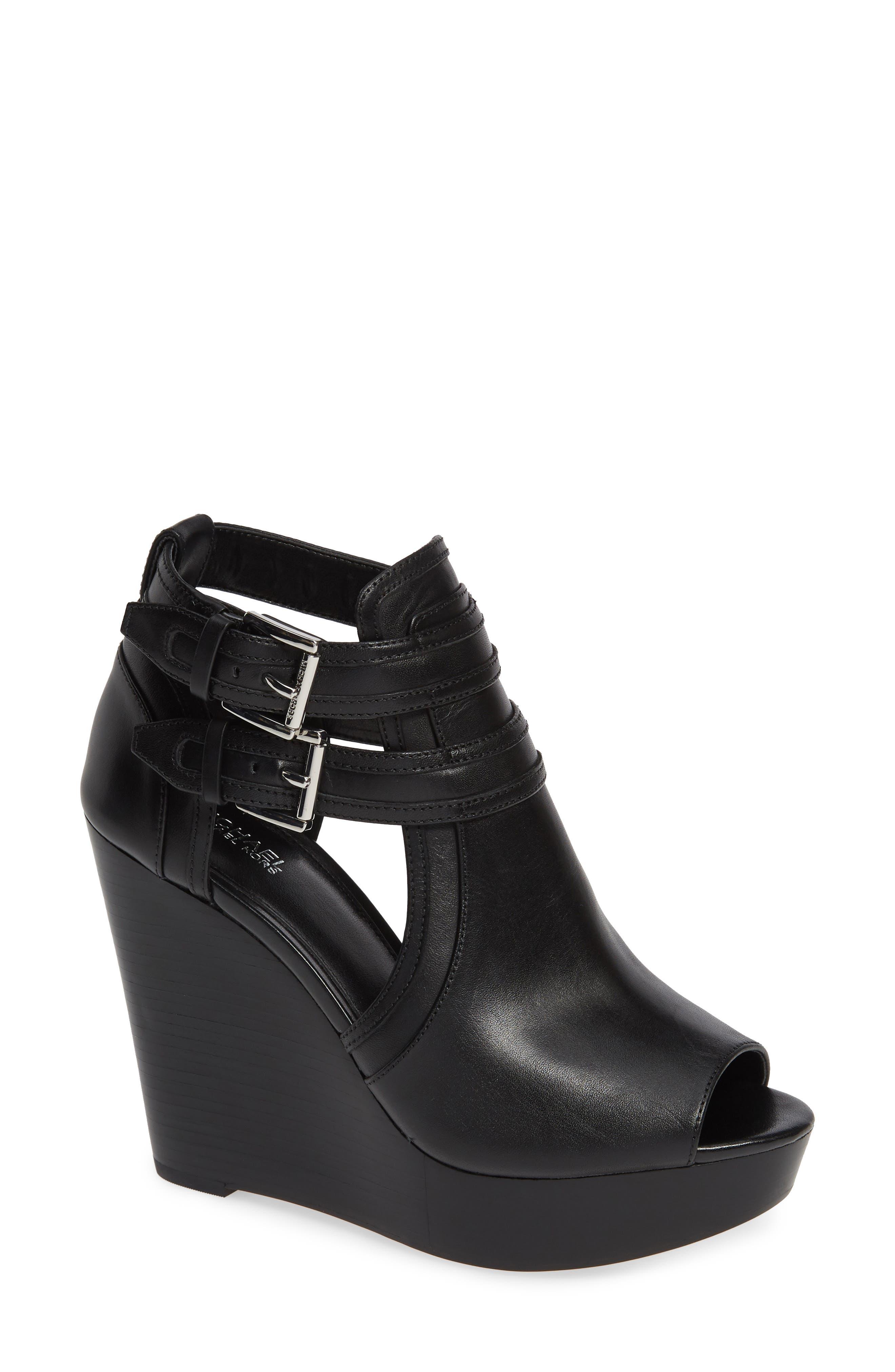 Blaze Wedge Sandal, Main, color, BLACK VACHETTA LEATHER