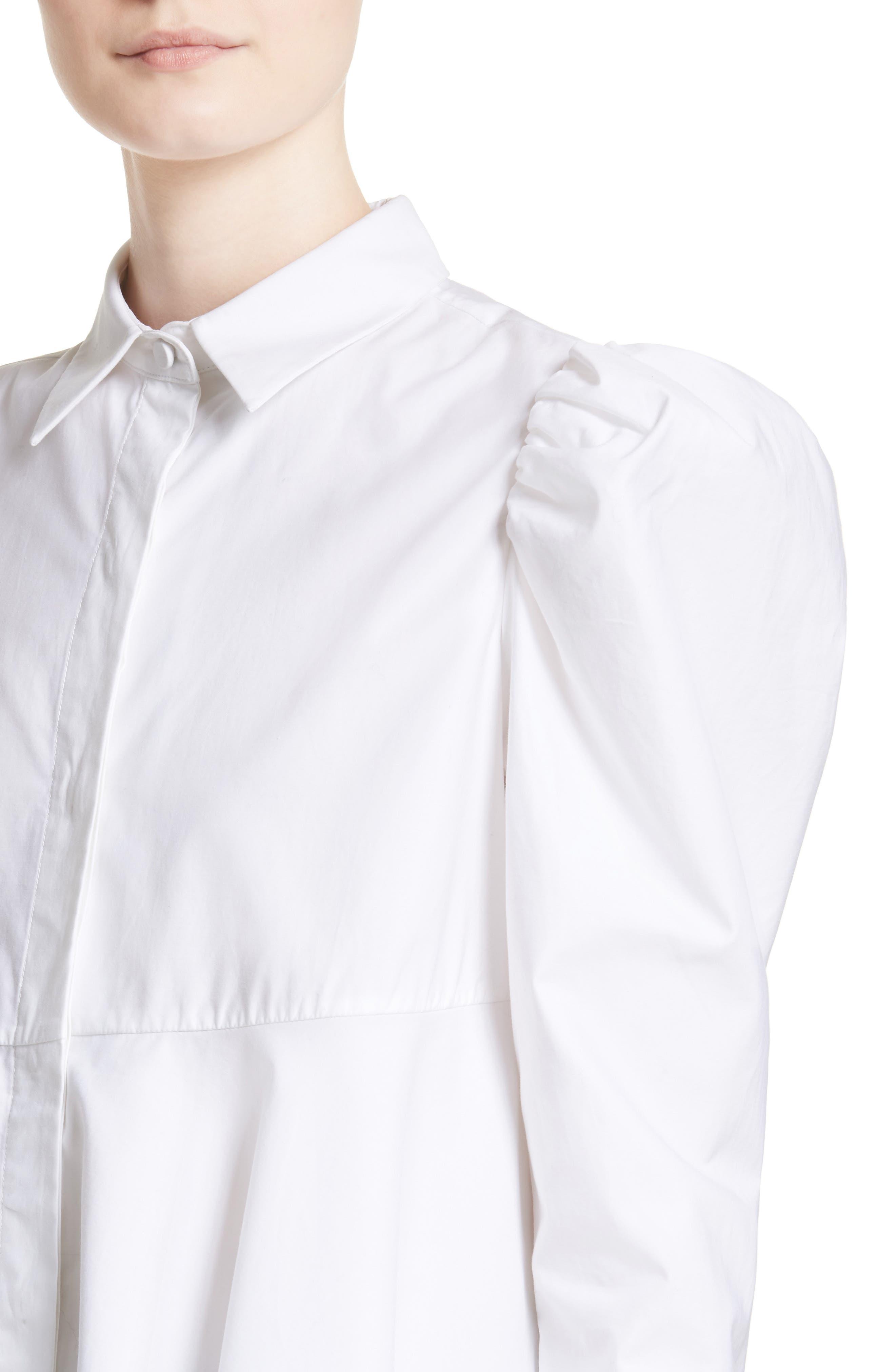 Cotton Puff Sleeve Blouse,                             Alternate thumbnail 4, color,                             100
