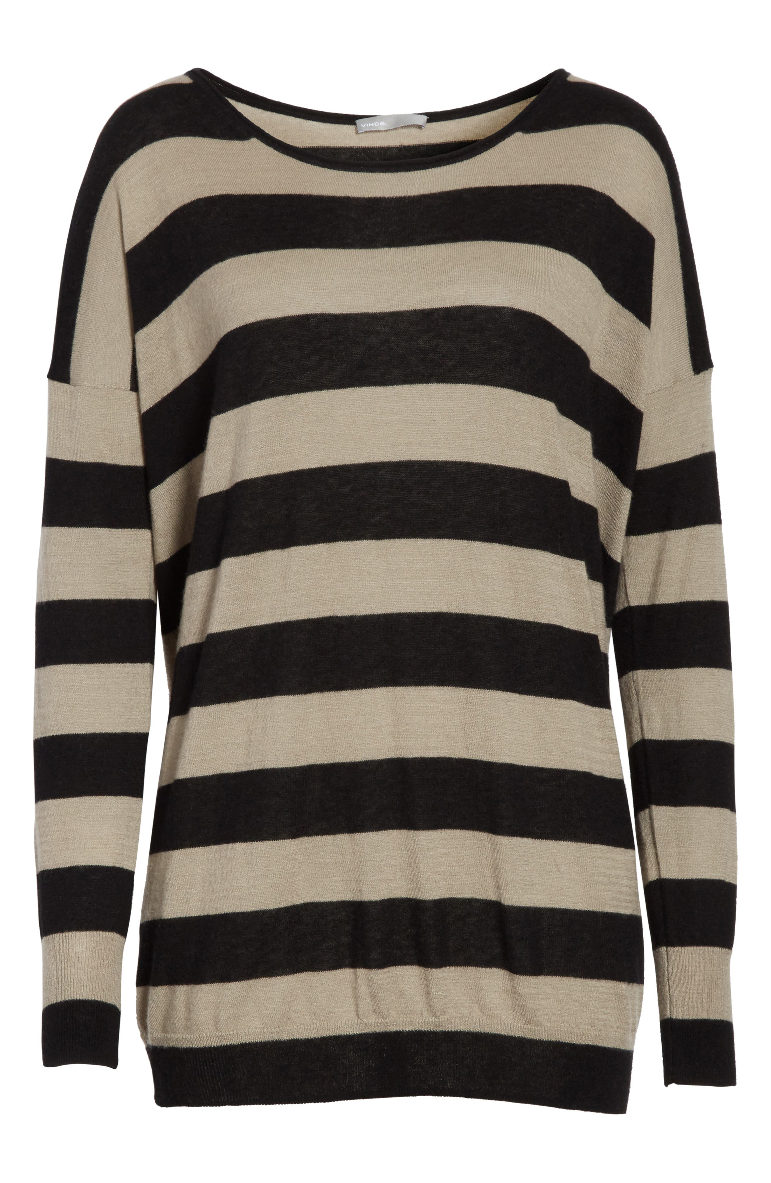 Wide Stripe Wool & Cashmere Sweater,                             Alternate thumbnail 6, color,                             260