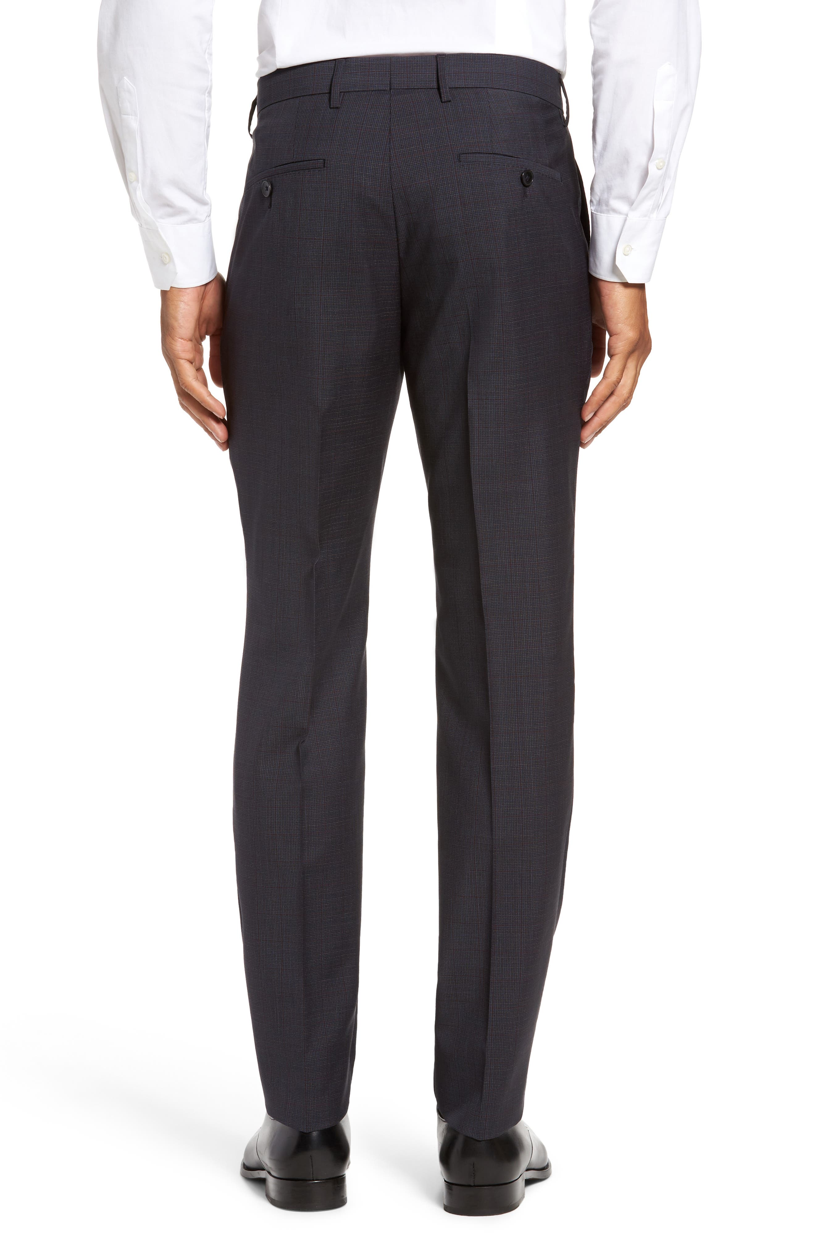 Benso Flat Front Houndstooth Wool Trousers,                             Alternate thumbnail 3, color,                             410