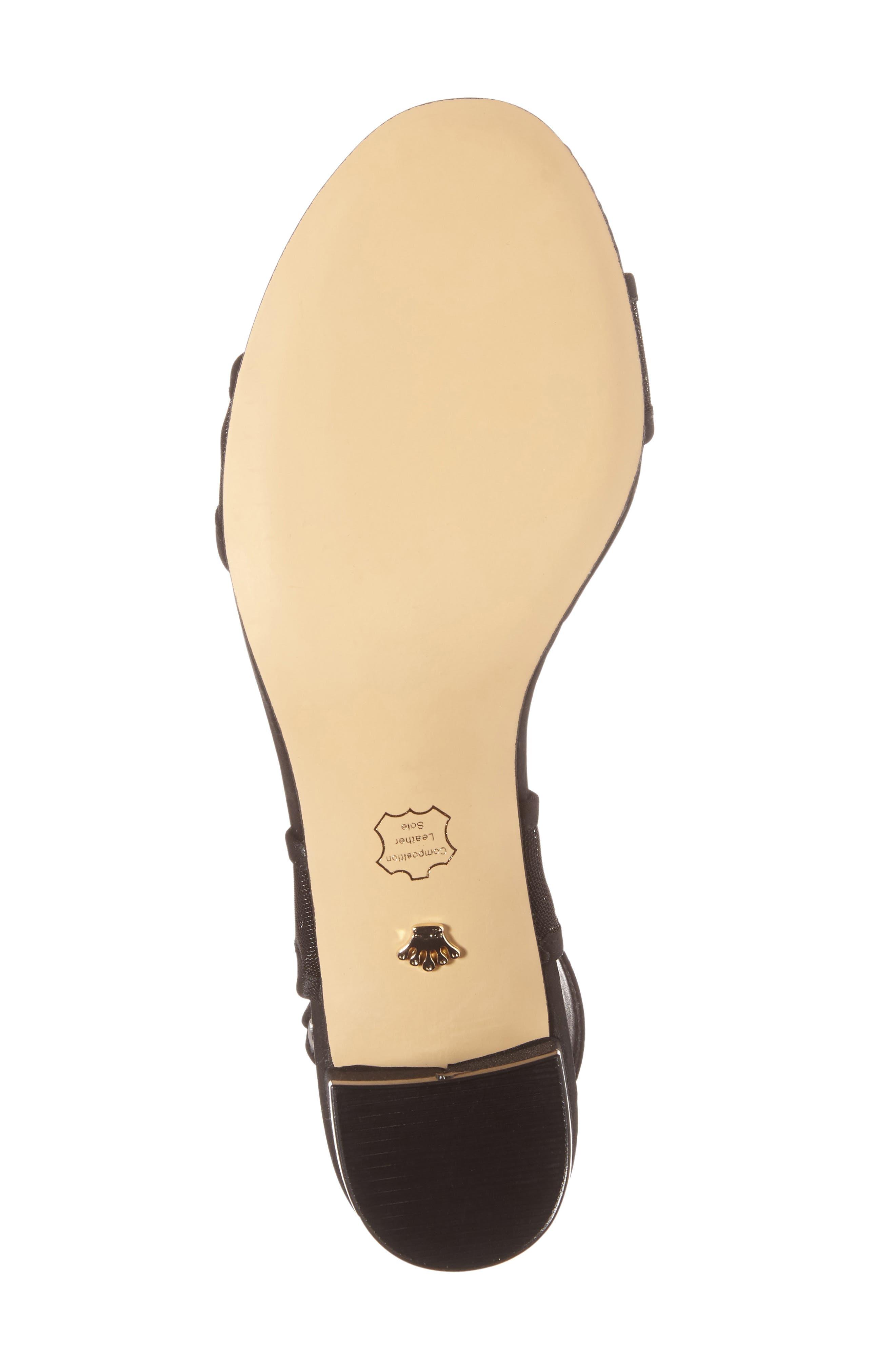 Ganice Mesh Strap Sandal,                             Alternate thumbnail 4, color,                             BLACK SATIN