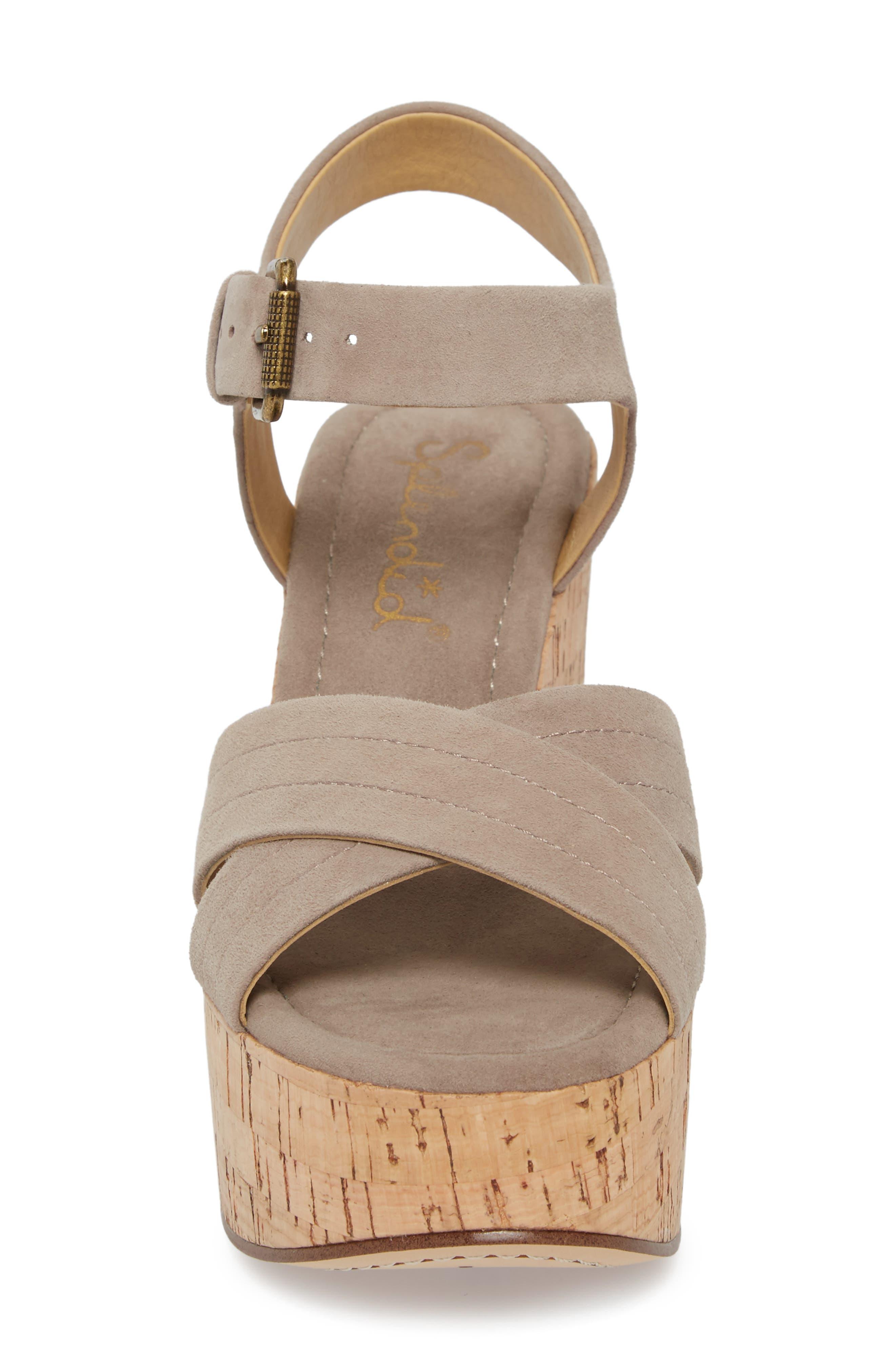 Flaire Platform Sandal,                             Alternate thumbnail 4, color,                             TAUPE SUEDE