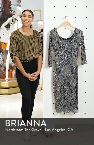 Embroidered Scallop Edge Midi Sheath Dress, sales video thumbnail