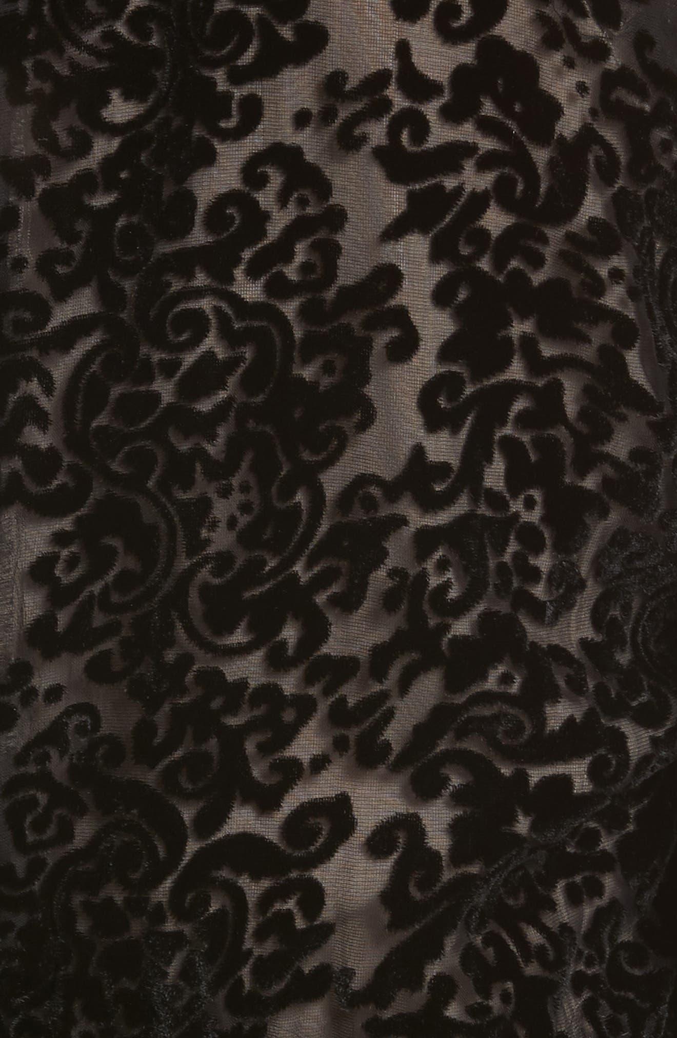 Ruthann Cold Shoulder Burnout Velvet Dress,                             Alternate thumbnail 5, color,                             001